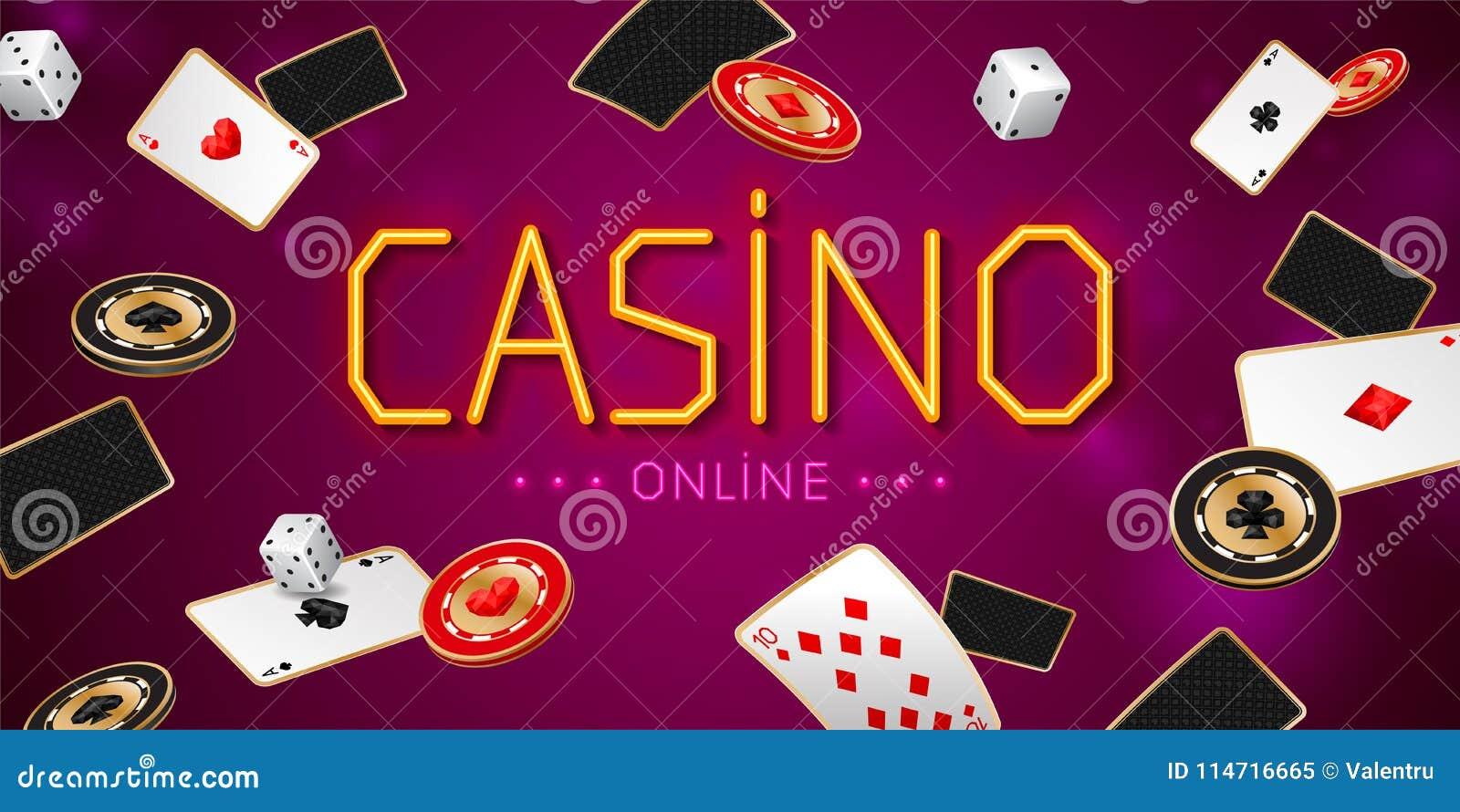 与一点纸牌的赌博娱乐场网上横幅,切削并且切成小方块