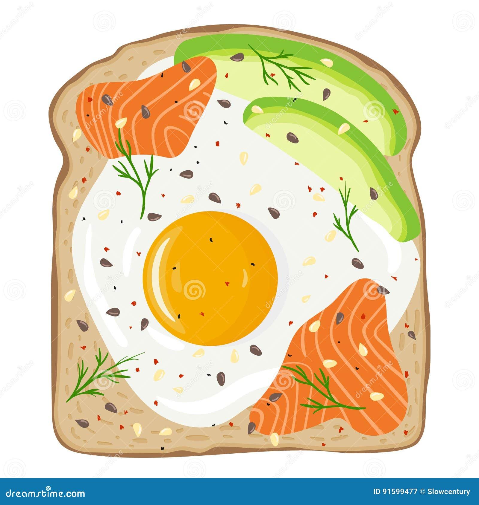 与三文鱼和鲕梨的煎蛋在多士面包 可口蛋和熏鲑鱼三明治 也corel凹道例证向量