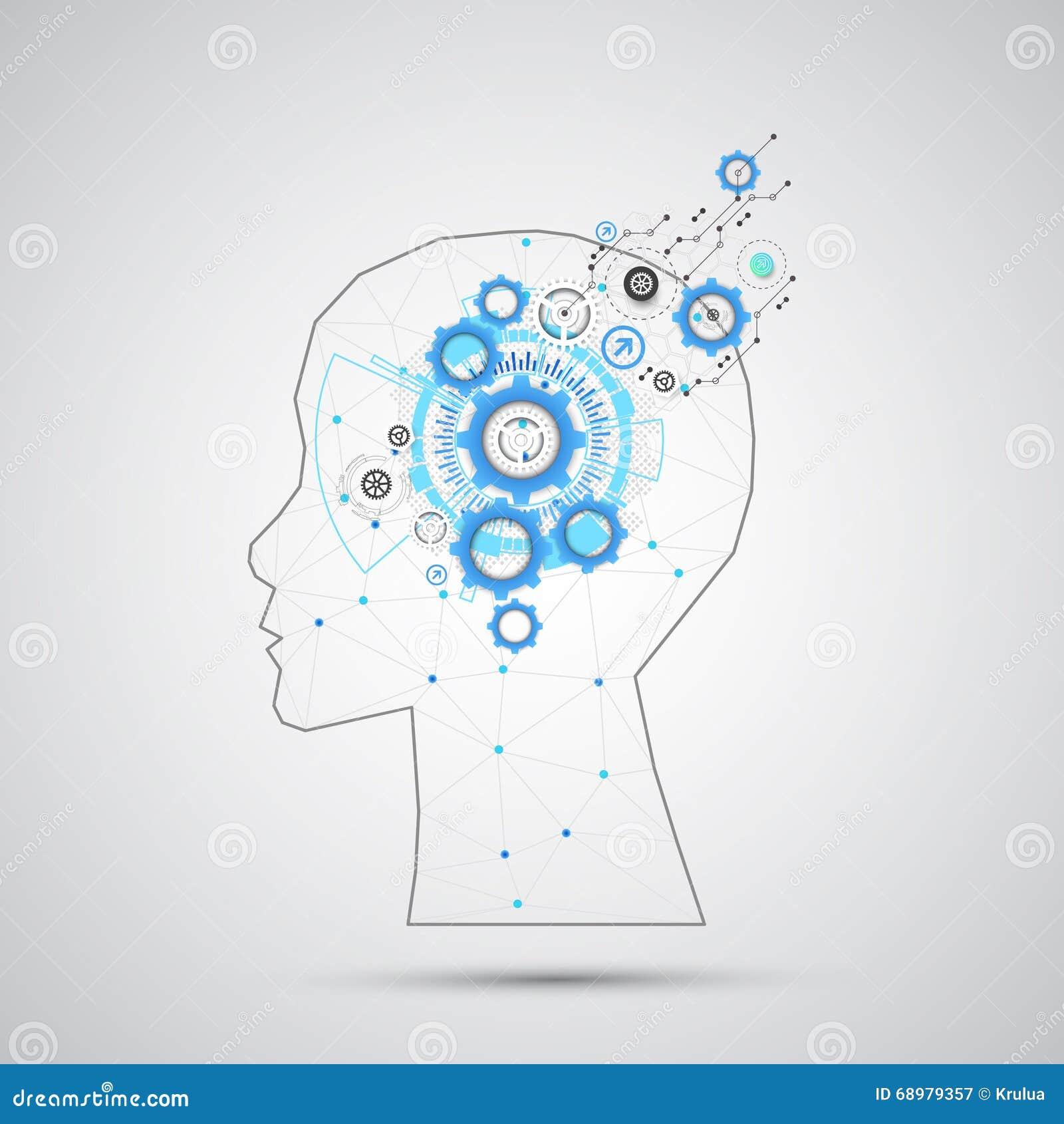 与三角栅格的创造性的脑子概念背景 Artifici