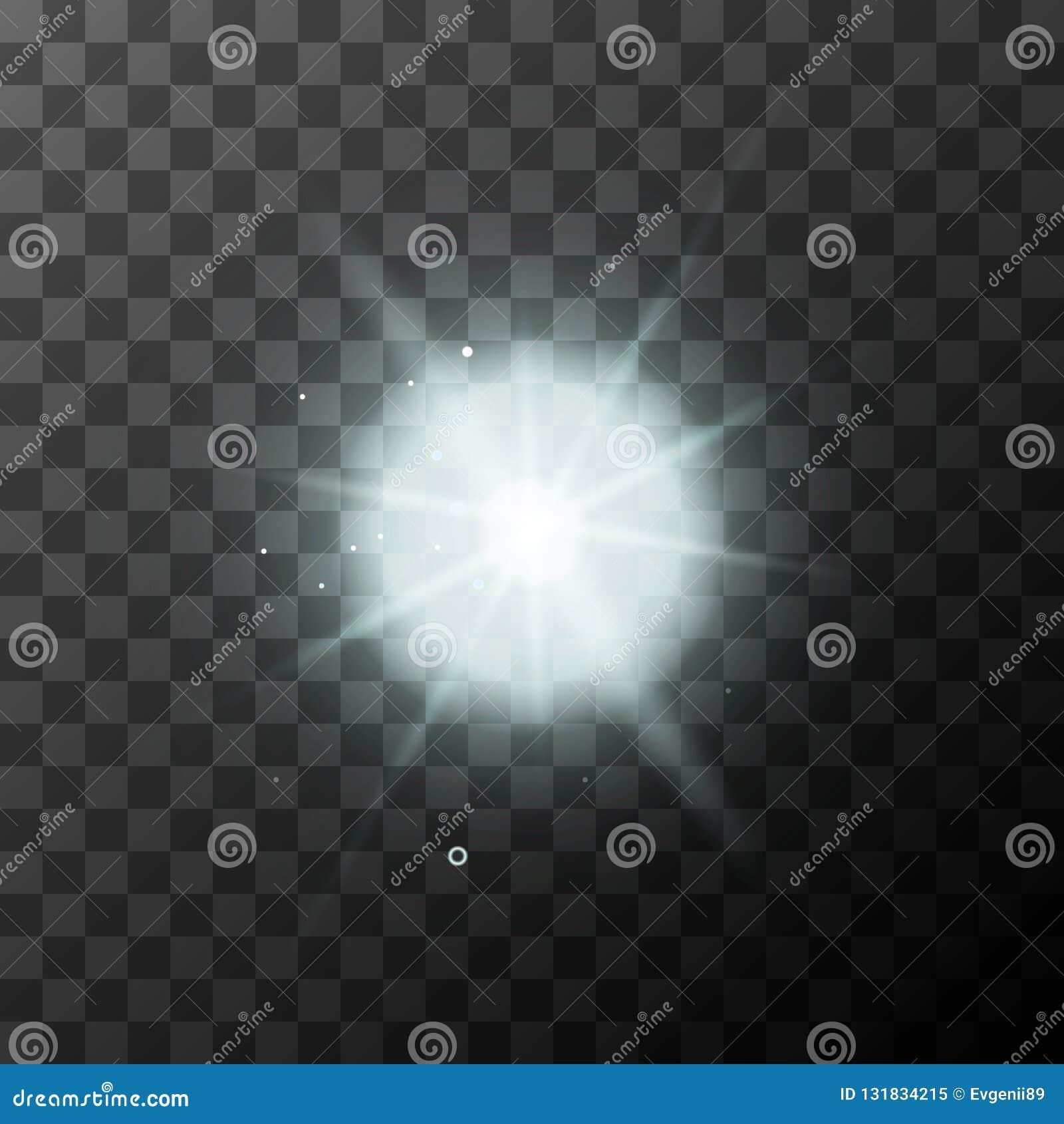 与不可思议的光线的现实明亮的白色闪闪发光在透明背景