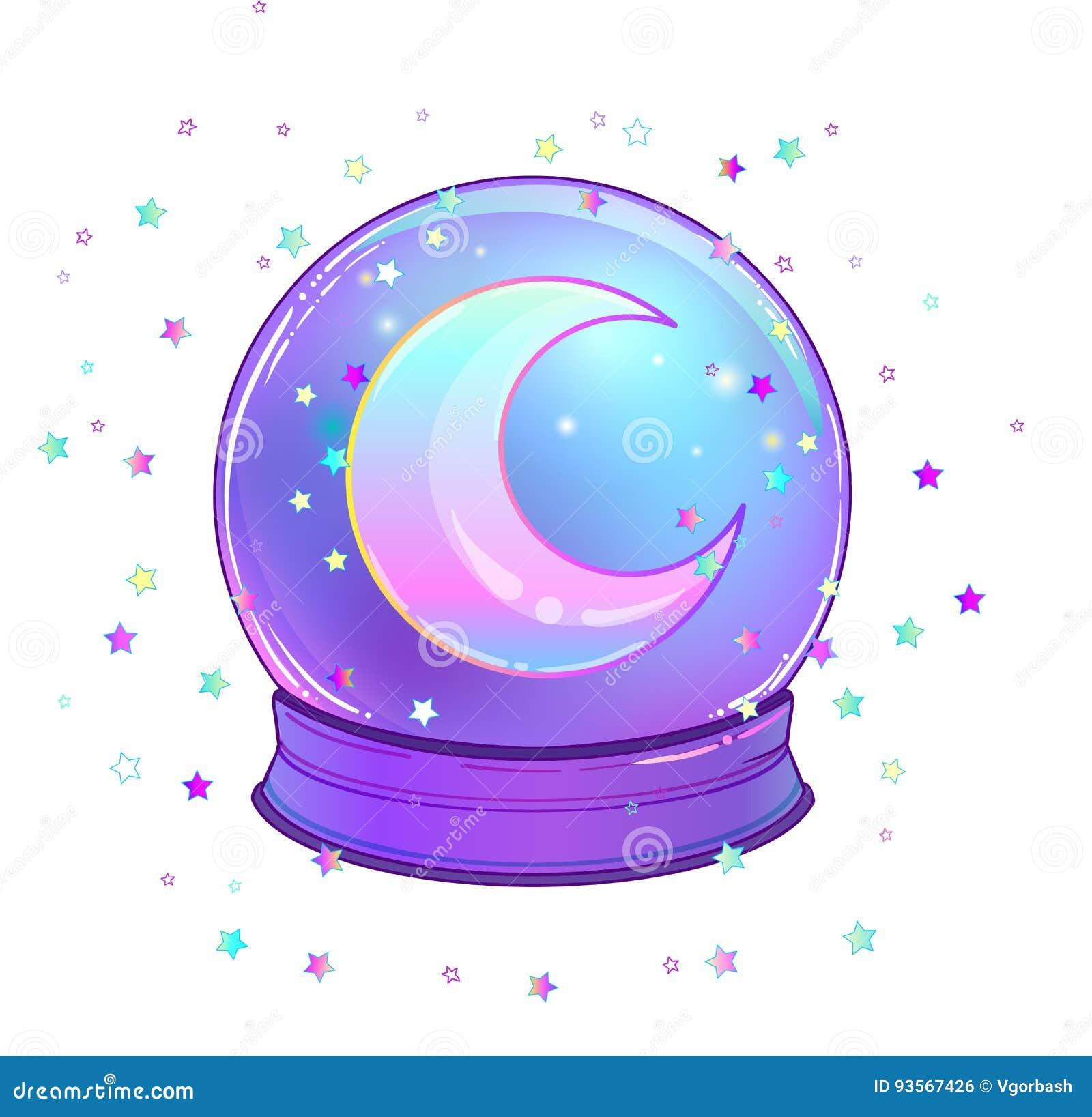 与与彩虹月亮和五颜六色的星的水晶球