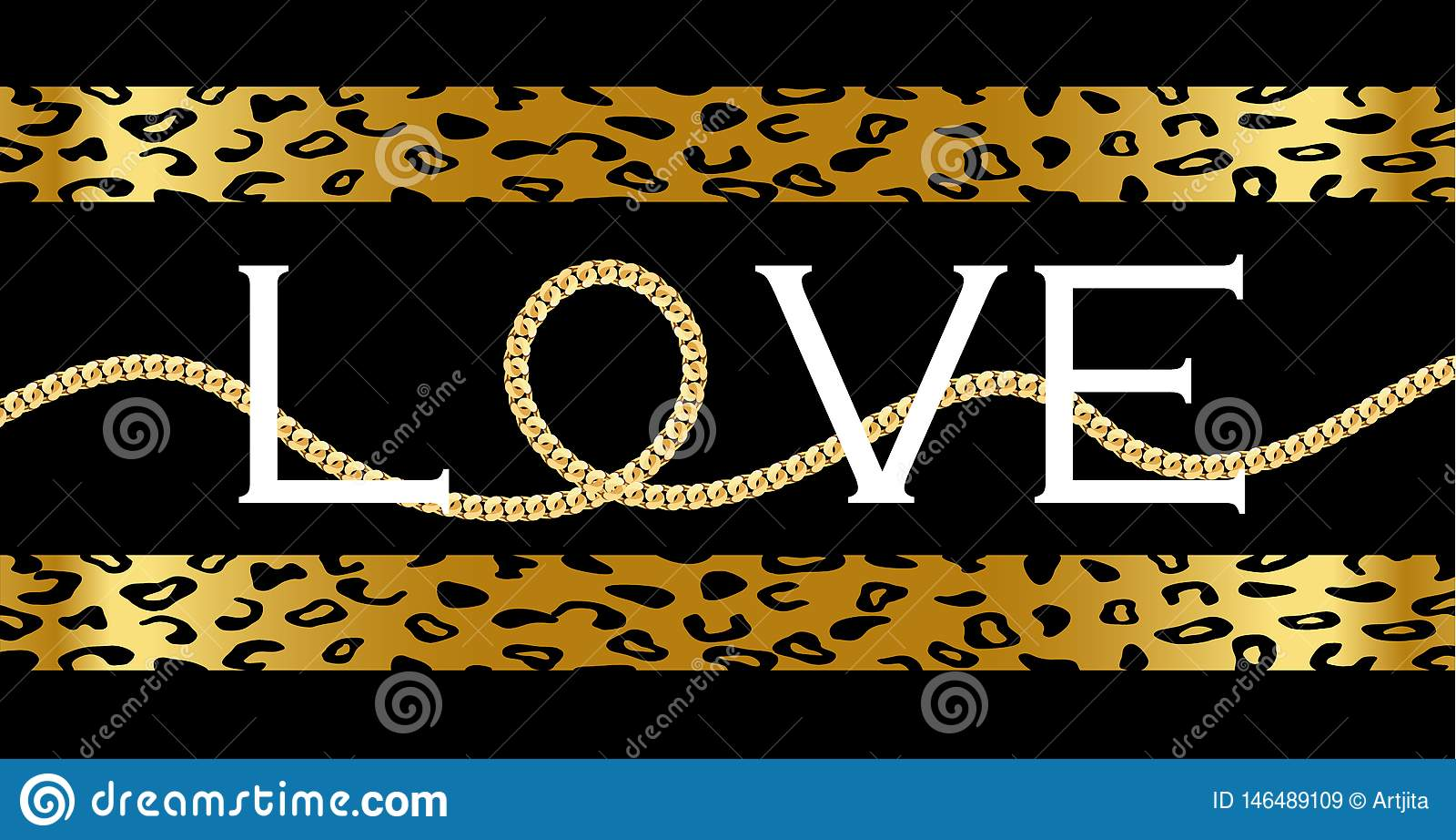 与与金黄链子的装饰'爱'文本在豹子