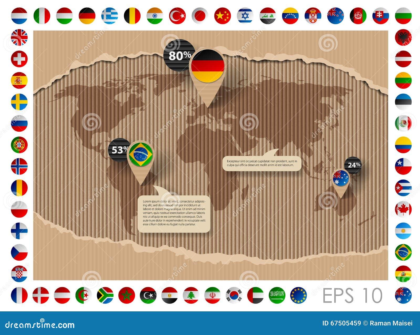 与世界地图和旗子的纸板模板