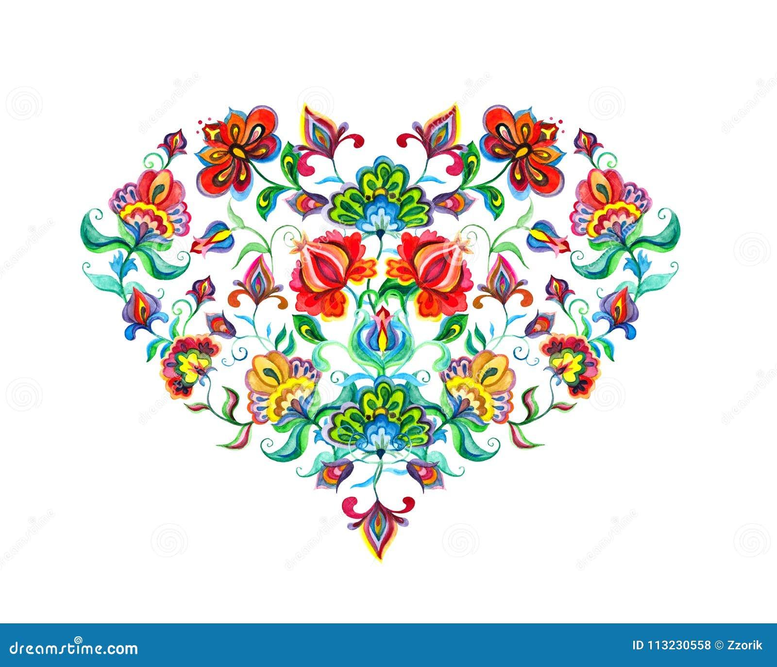 与东欧装饰种族花的心脏 水彩民间艺术