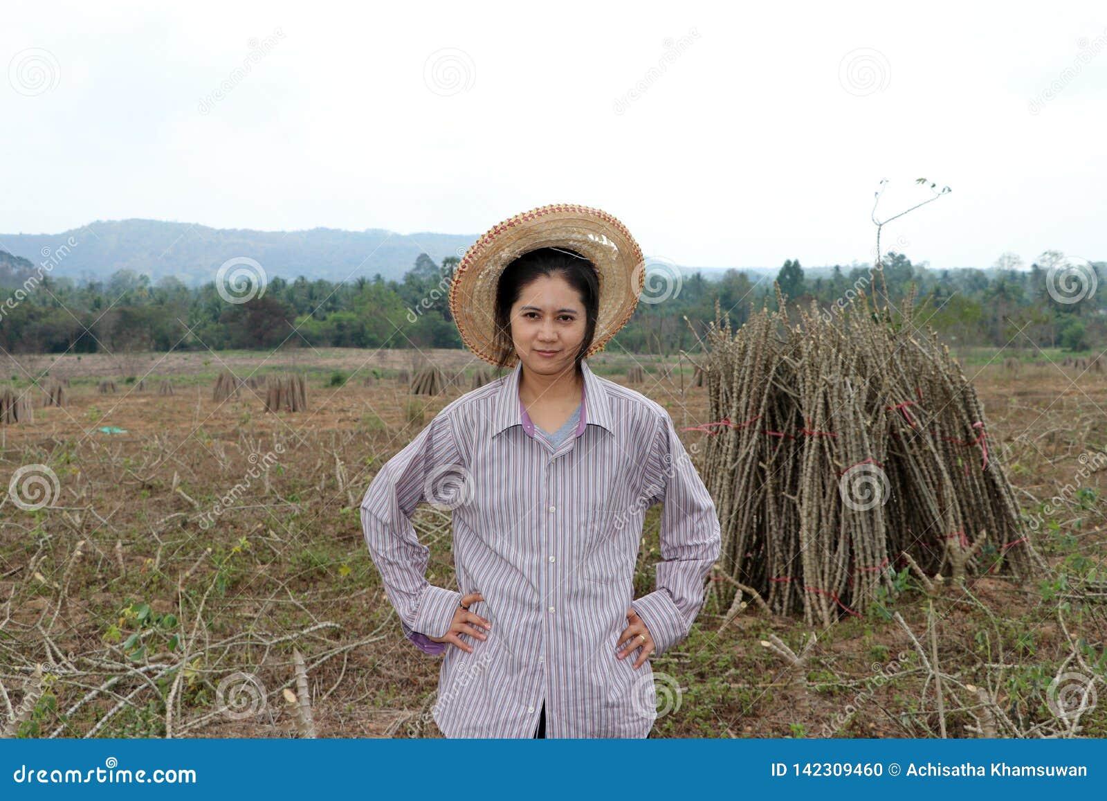 与两手插腰的女性农夫身分和在农场一起切开堆珍珠粉植物的肢体