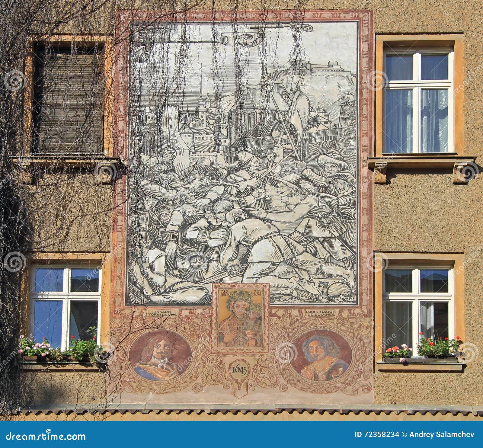 与中世纪争斗的图片在大厦在布尔诺