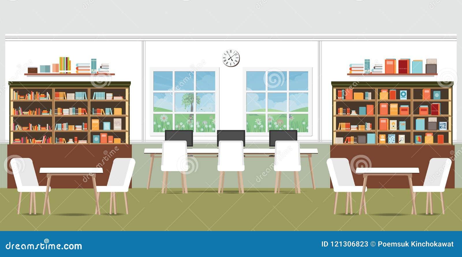 与书架的现代图书馆内部