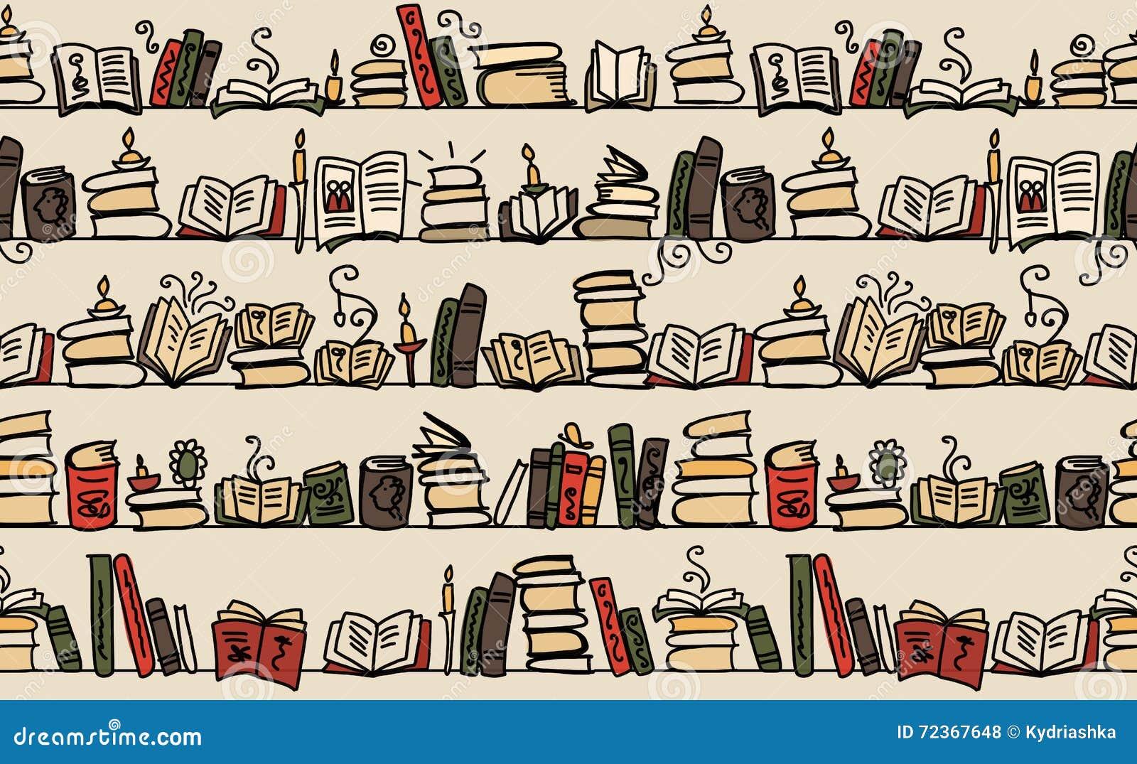 与书的无缝的样式在书架,剪影设计