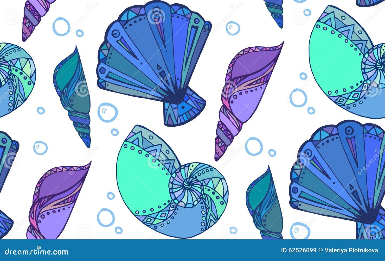 与乱画贝壳的无缝的纹理