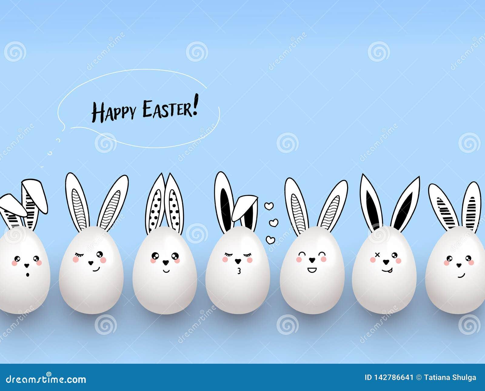 与云彩和复活节彩蛋的愉快的复活节滑稽的逗人喜爱的兔子在浅兰的背景