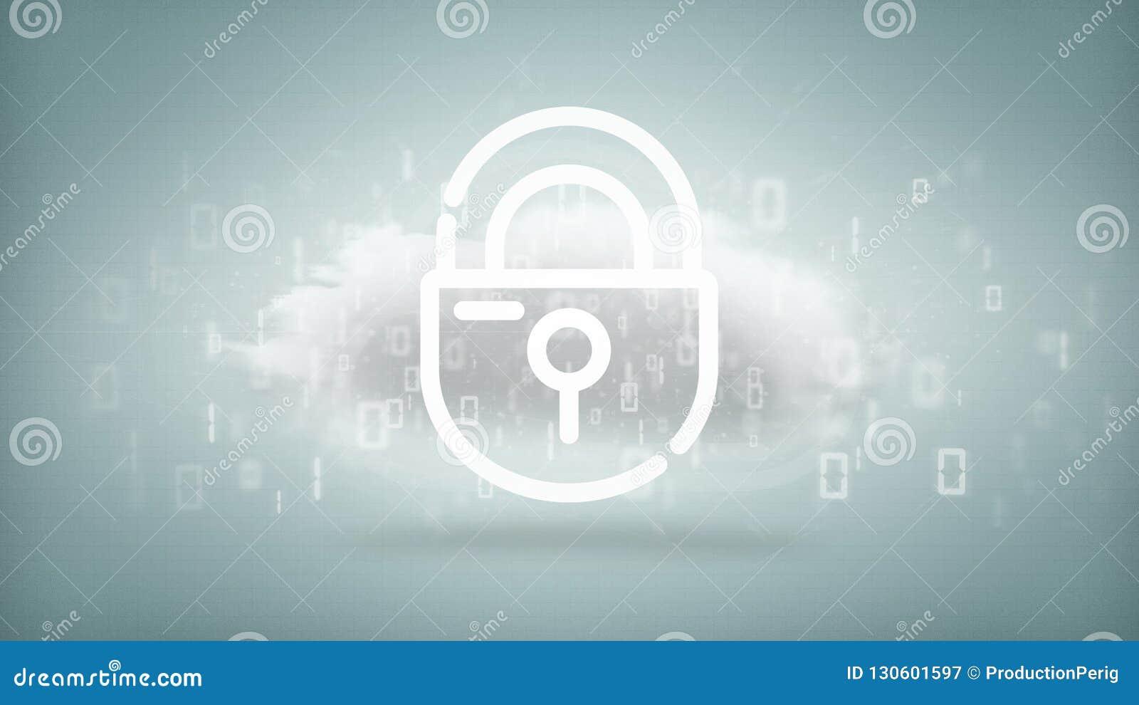与互联网安全挂锁3d翻译的二进制云彩