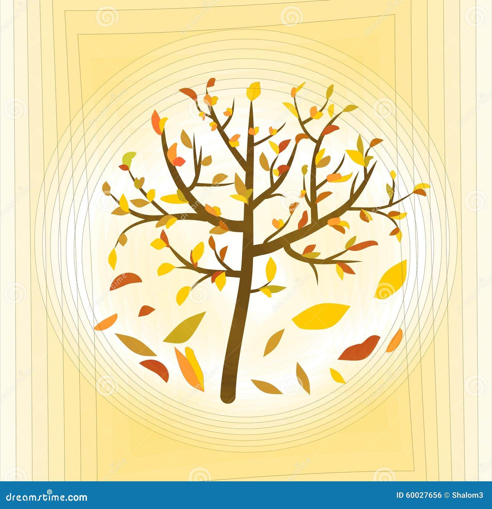 与五颜六色的叶子的树在淡黄的抽象背景,美好的秋天题材