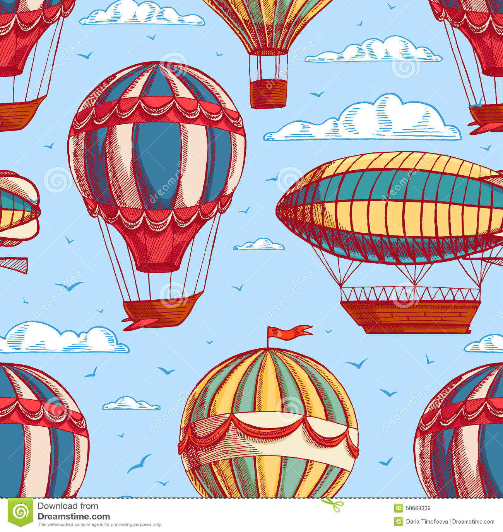 与五颜六色的气球和飞艇的无缝的背景