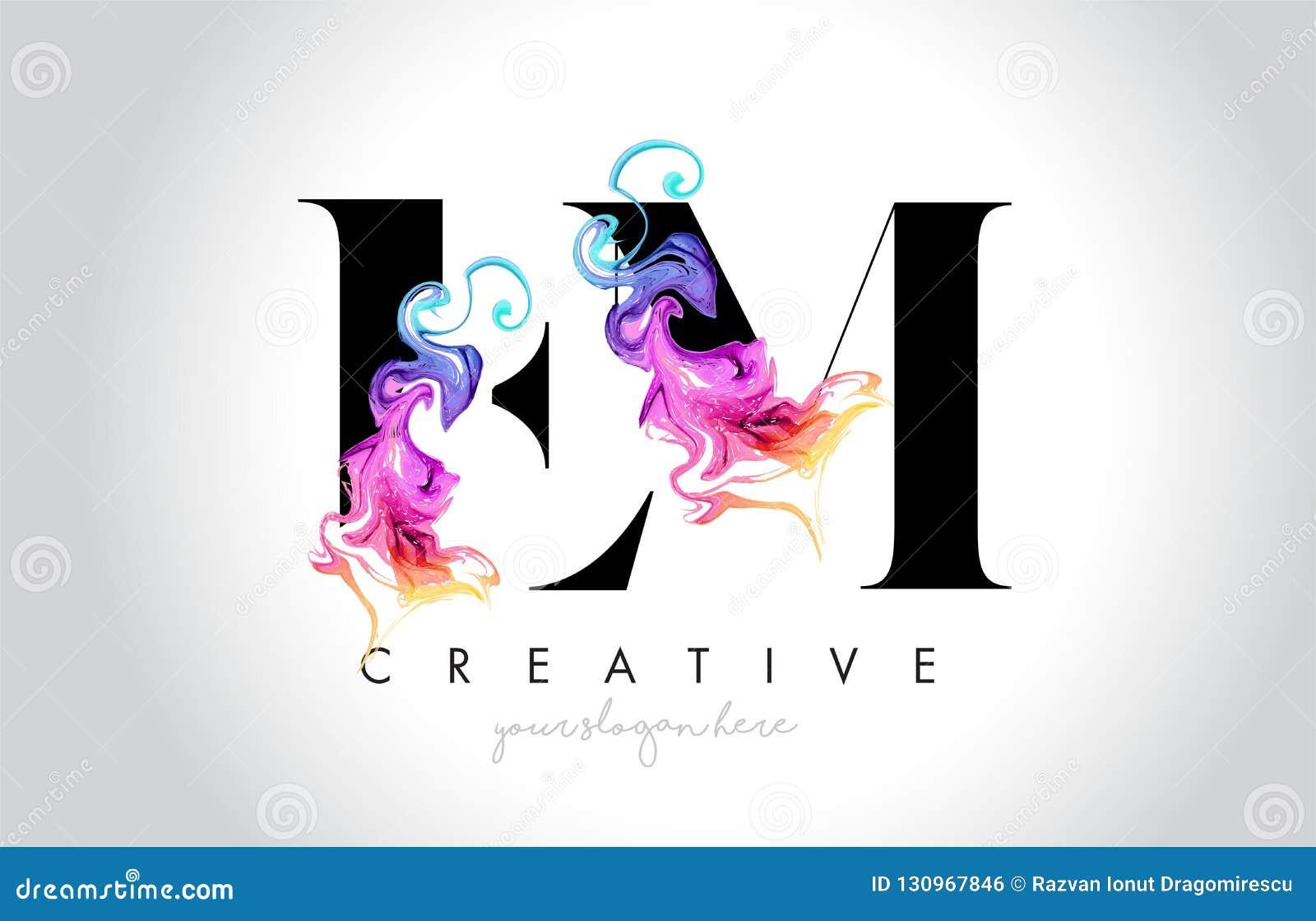 与五颜六色的烟墨水Fl的EM充满活力的创造性的Leter商标设计