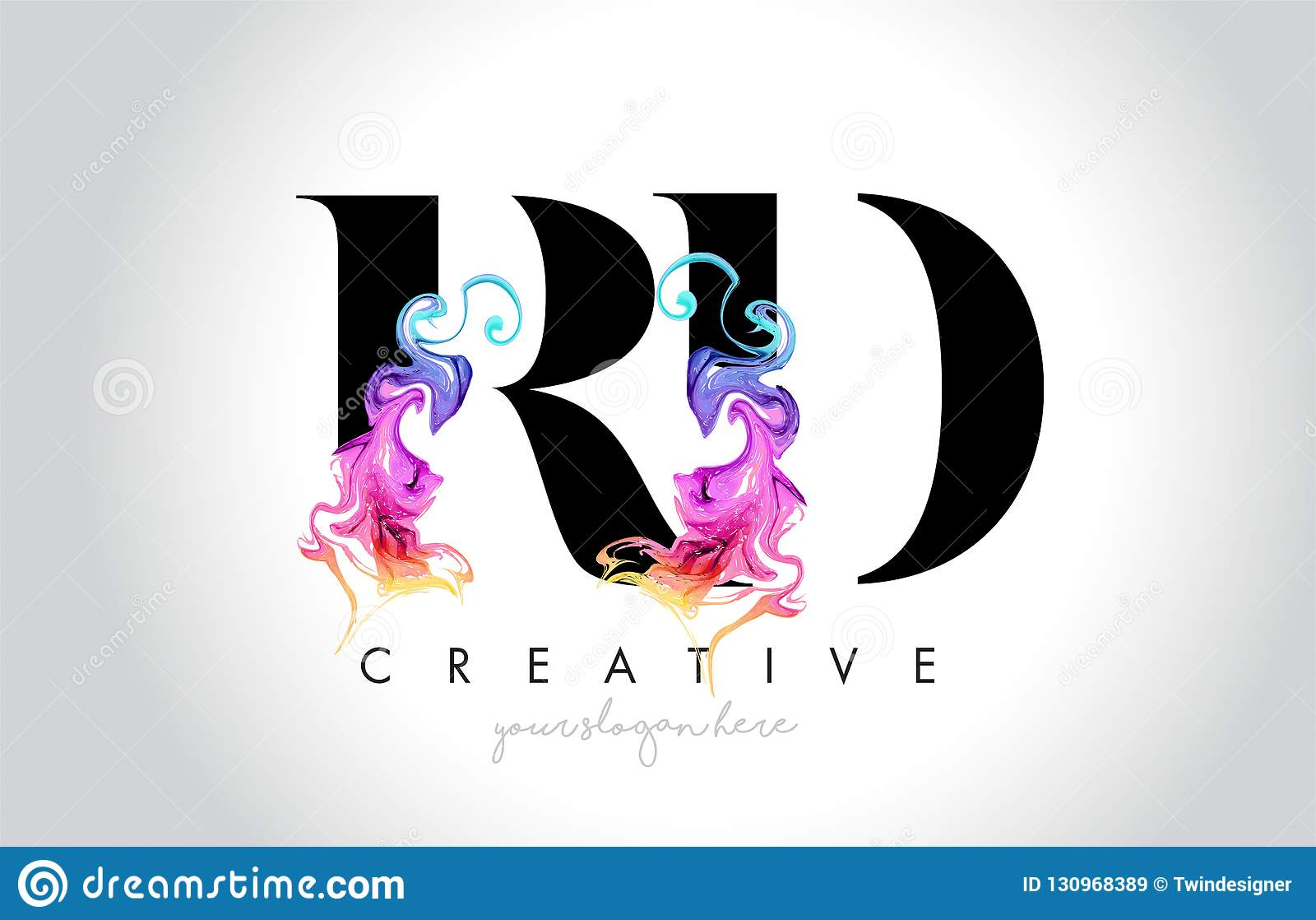 与五颜六色的烟墨水Fl的RD充满活力的创造性的Leter商标设计