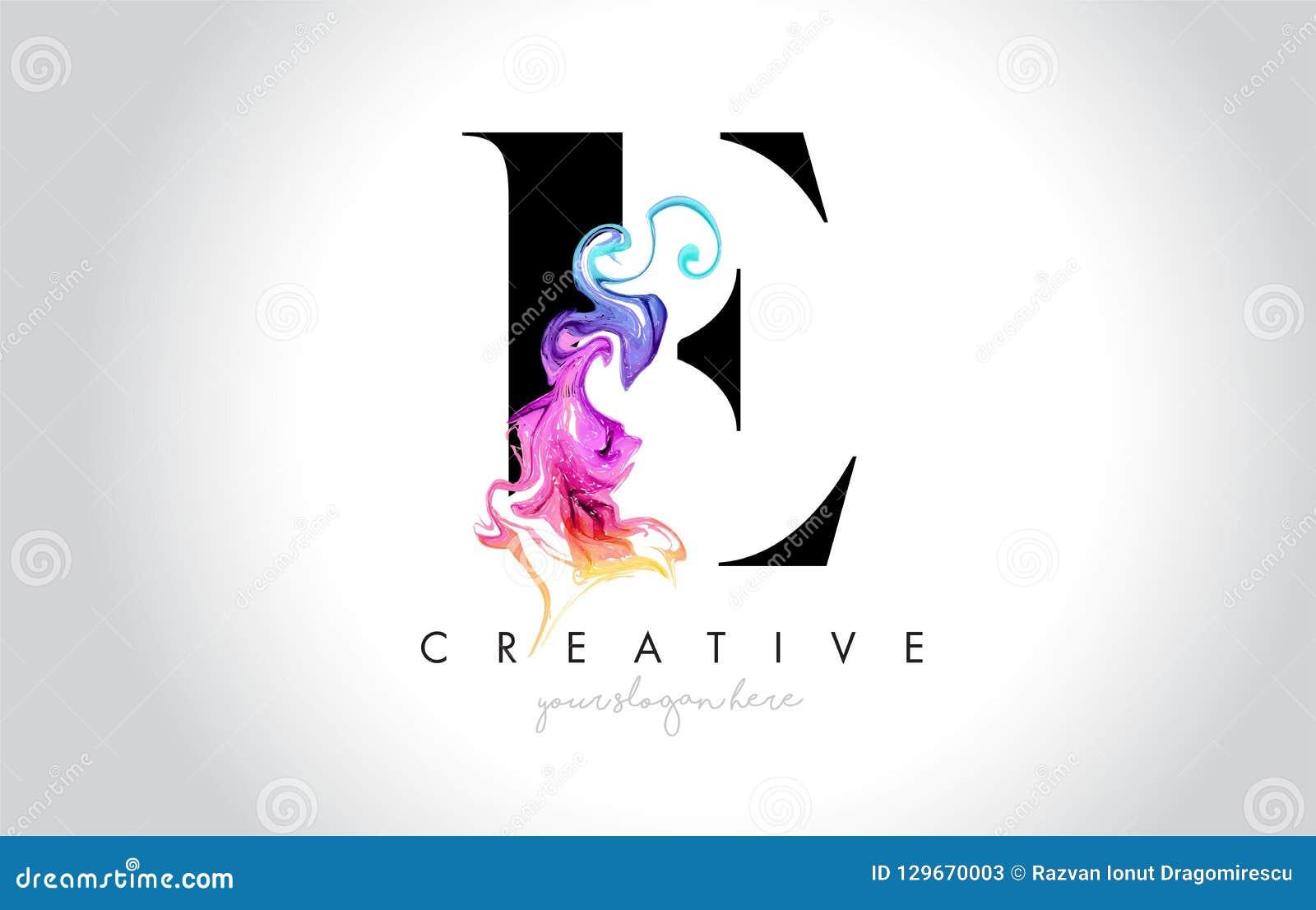 与五颜六色的烟墨水Flo的E充满活力的创造性的Leter商标设计