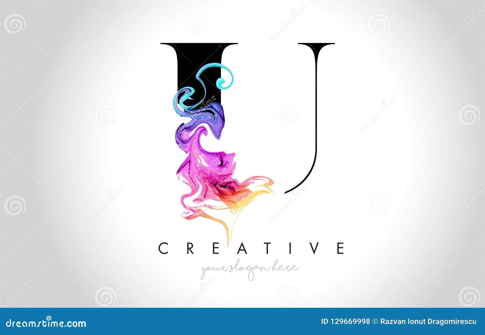 与五颜六色的烟墨水Flo的U充满活力的创造性的Leter商标设计