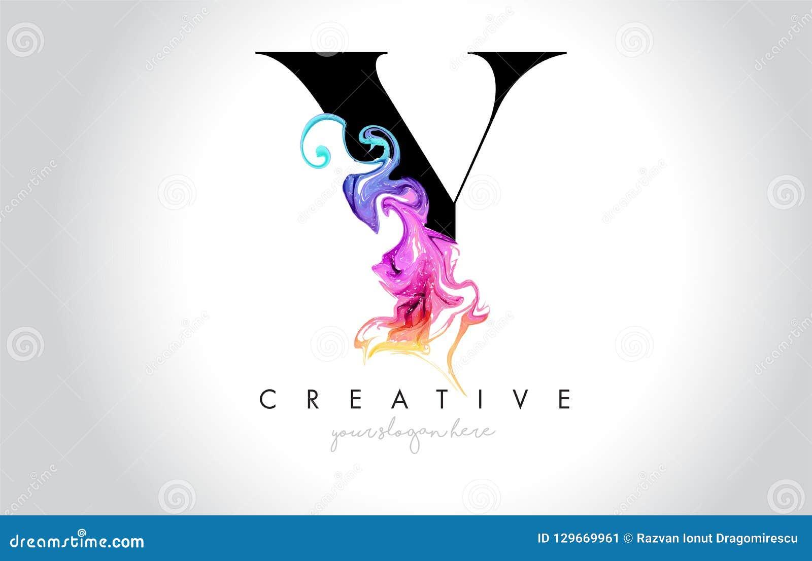 与五颜六色的烟墨水Flo的Y充满活力的创造性的Leter商标设计