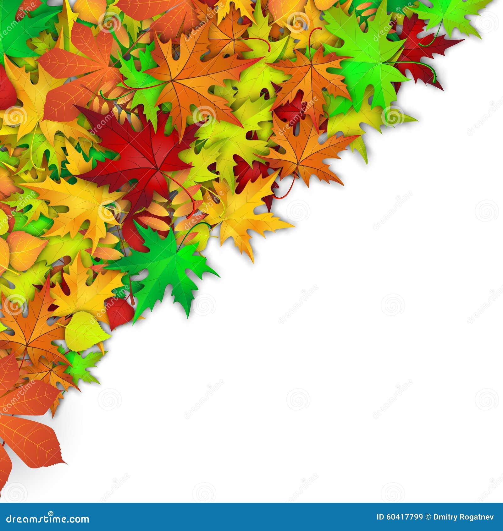 与五颜六色的秋叶的传染媒介背景
