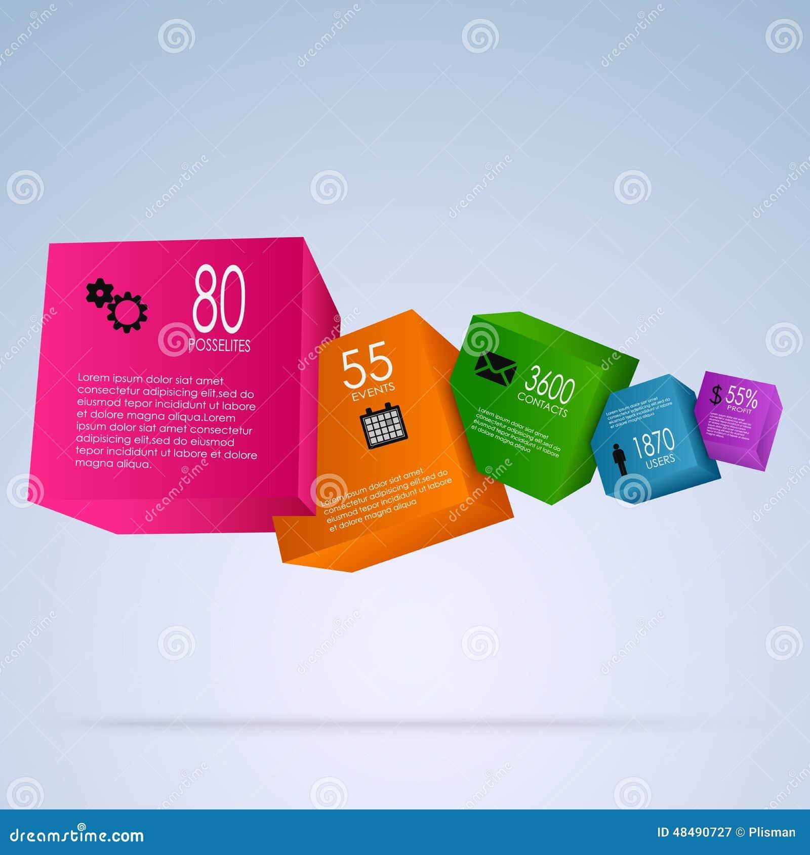 与五颜六色的立方体的抽象信息图表
