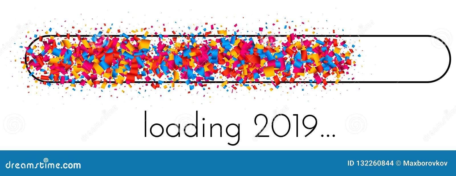 与五颜六色的进展显示的装载的2019新年横幅