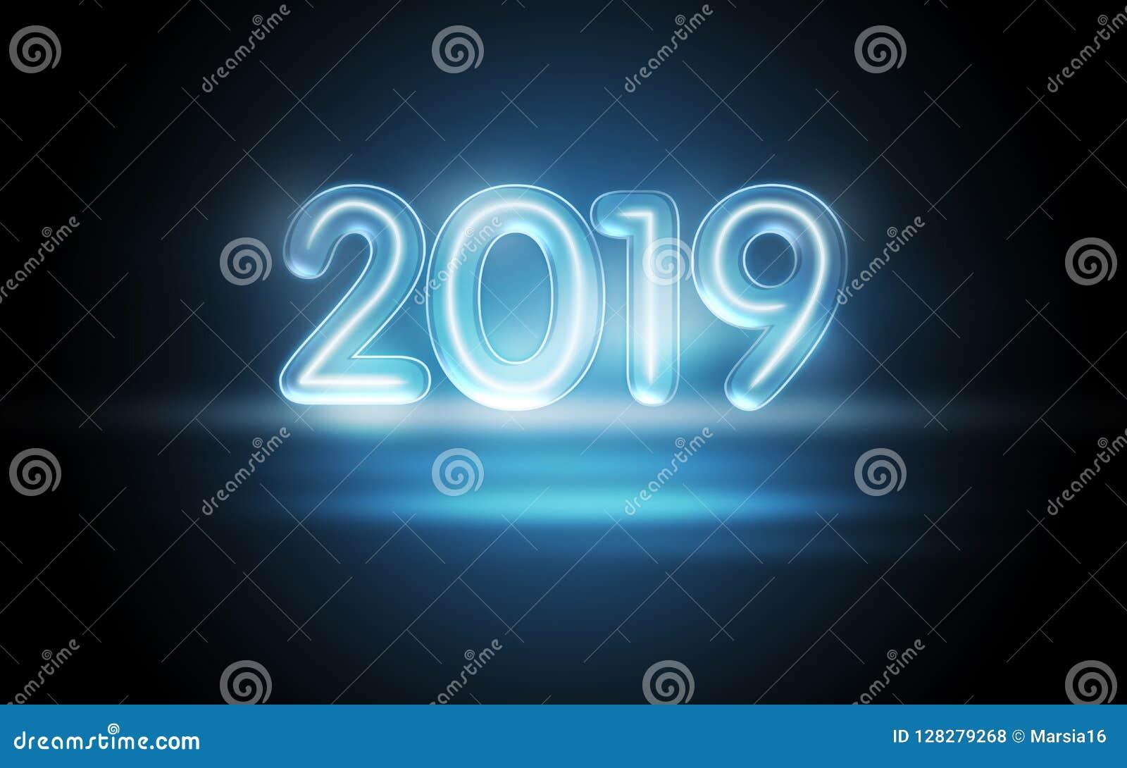 2019与五颜六色的霓虹灯的新年概念