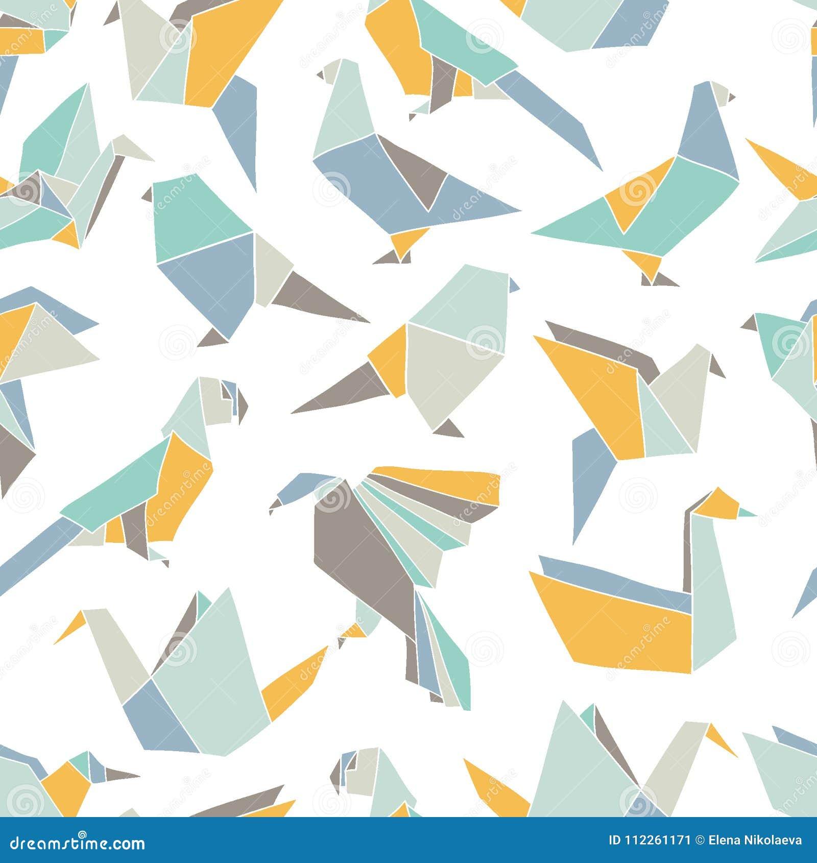 与五颜六色的origami鸟的无缝的样式