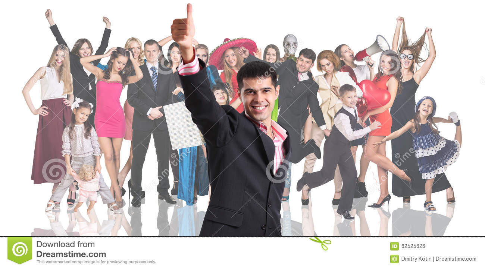 与人人群的年轻商人前景