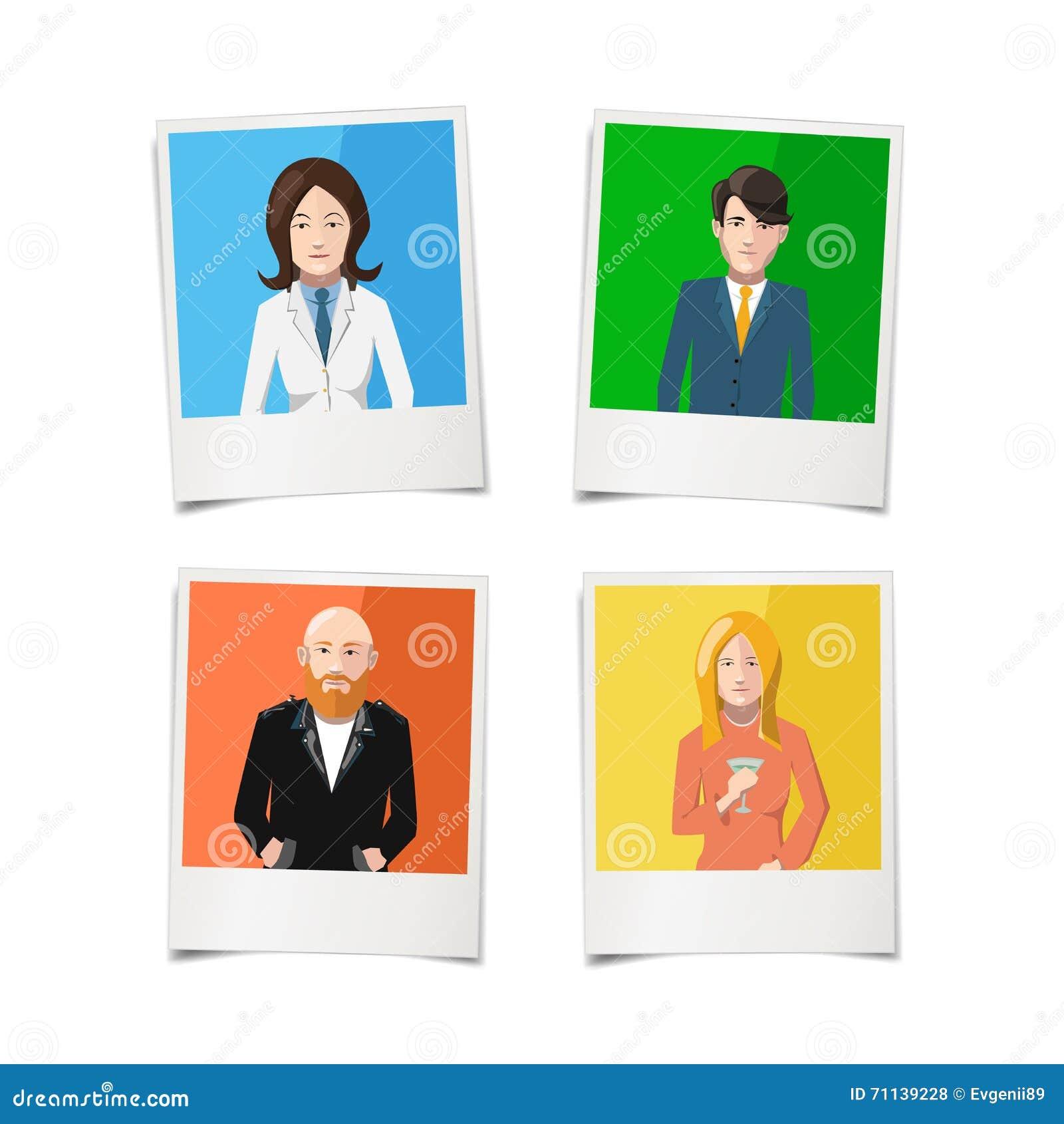 与人平的画象的四张偏正片立即照片五颜六色的背景的