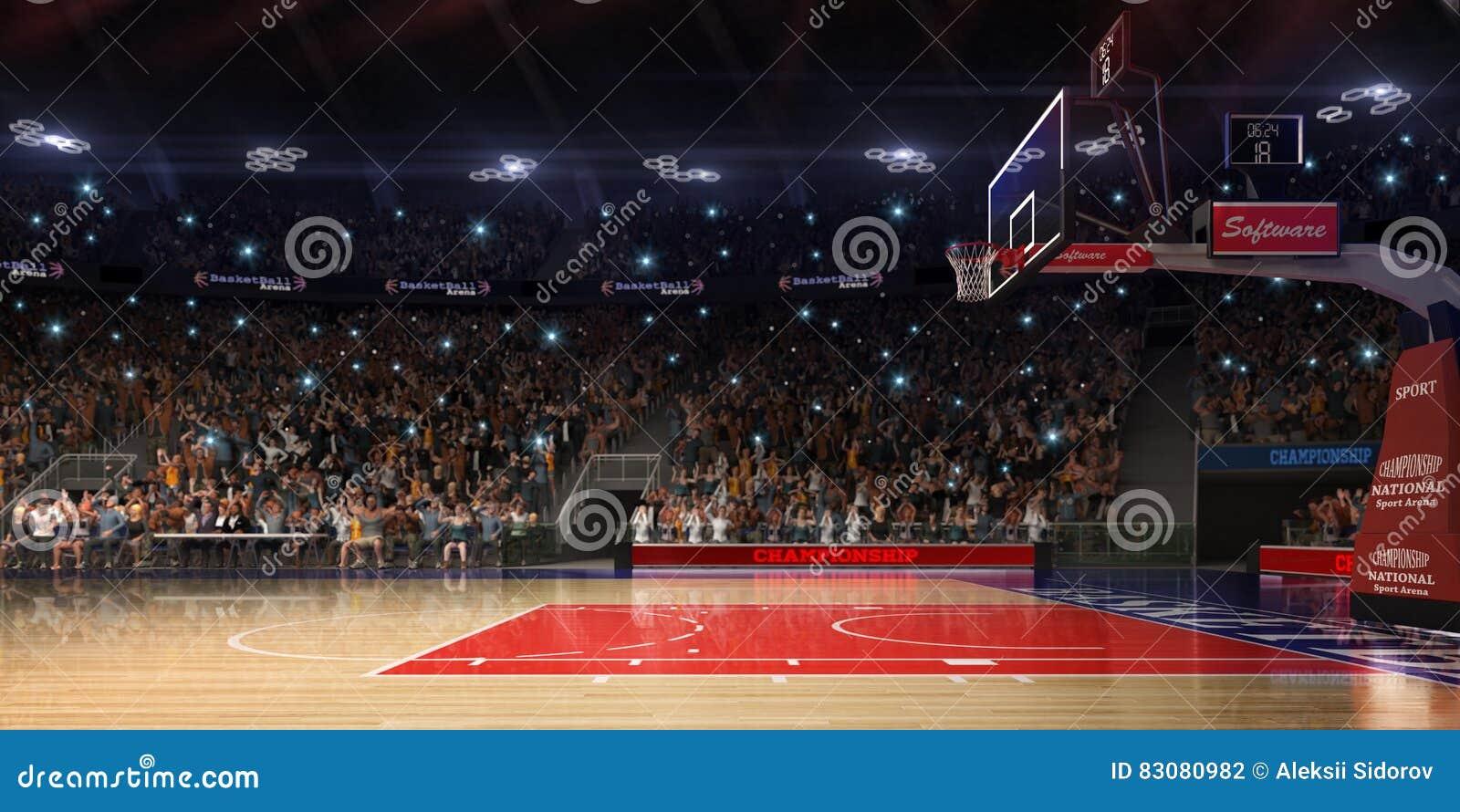 与人爱好者的篮球场 竞技场雨体育运动体育场 Photoreal 3d回报背景 blured在distancelike的轻率冒险倾斜光学,