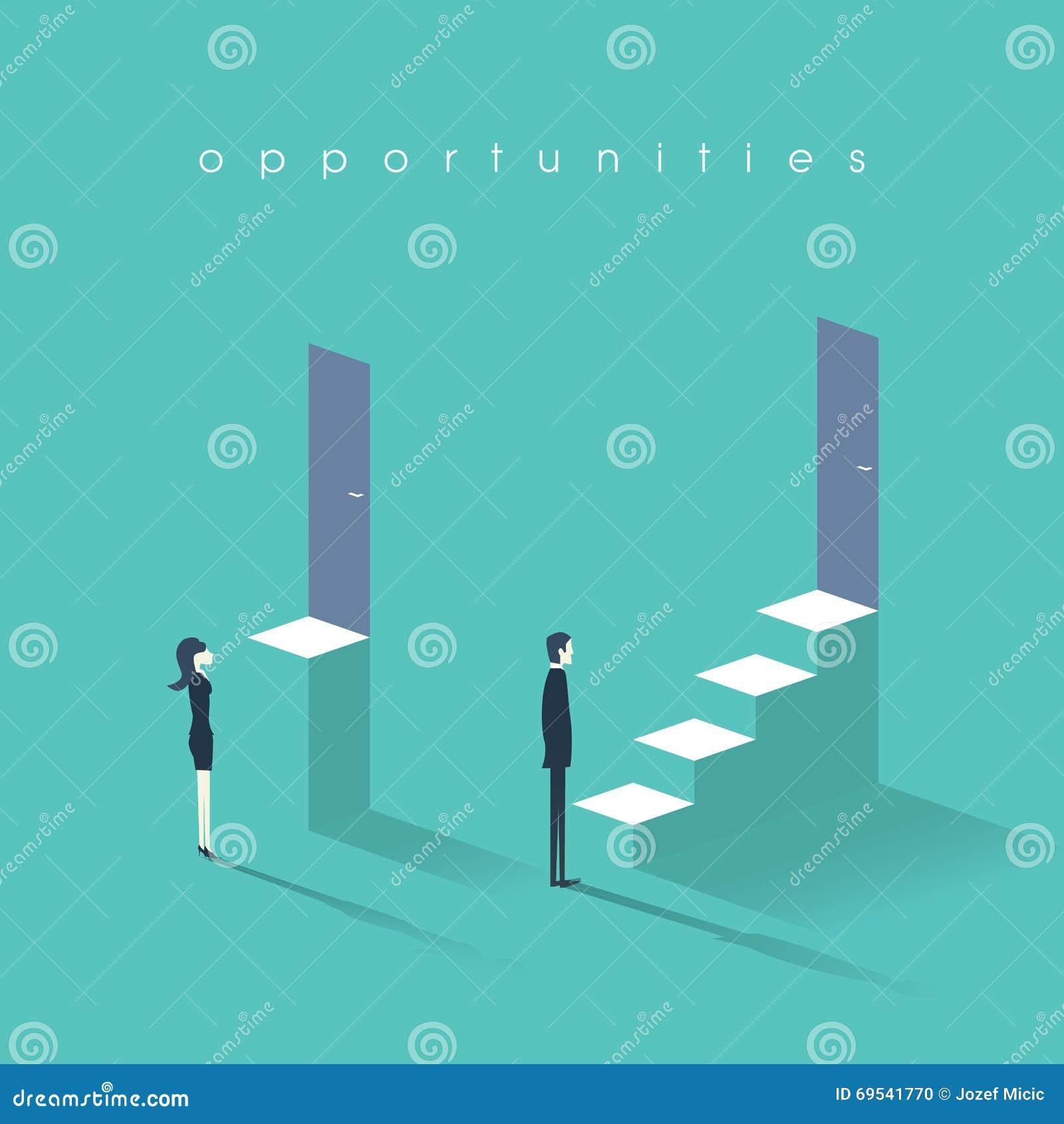 与人的男女平等概念对妇女标志 商人对在事业和专家的女实业家不平等