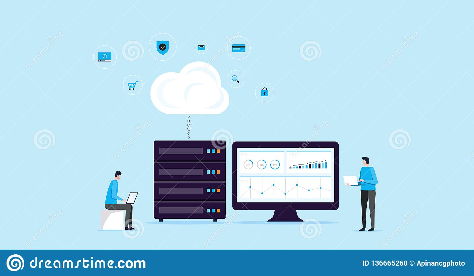 与企业技术温的平的例证设计观念技术云彩存贮连接主持和服务器网上servi
