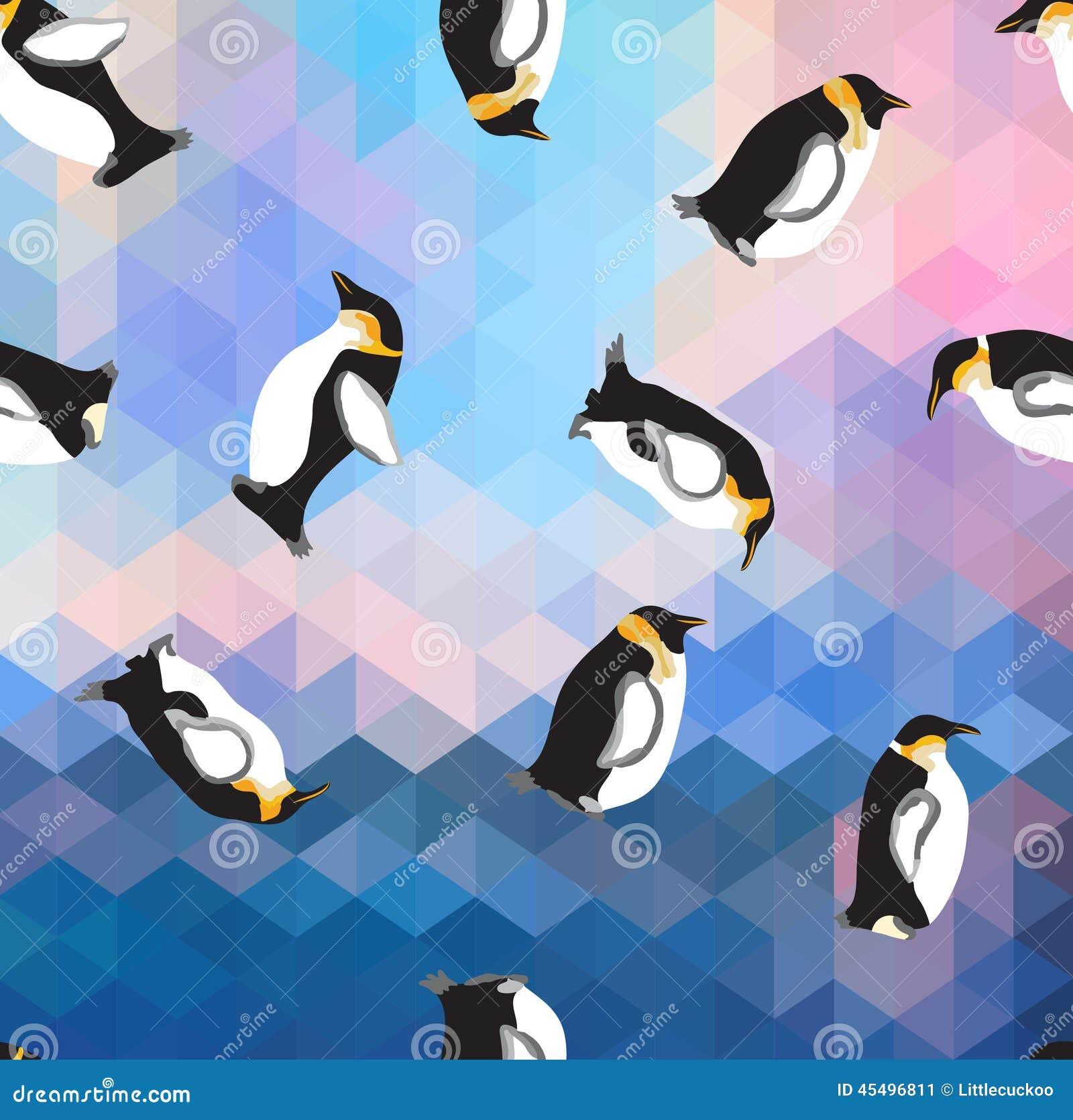 与企鹅的抽象蓝色水晶冰背景 无缝的样式,用途作为表面纹理