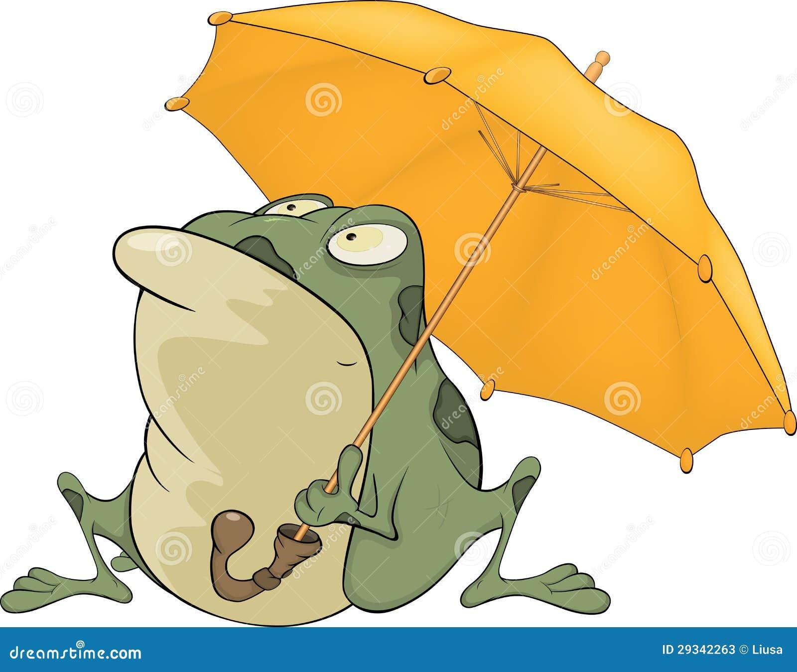 与伞的青蛙. 动画片图片