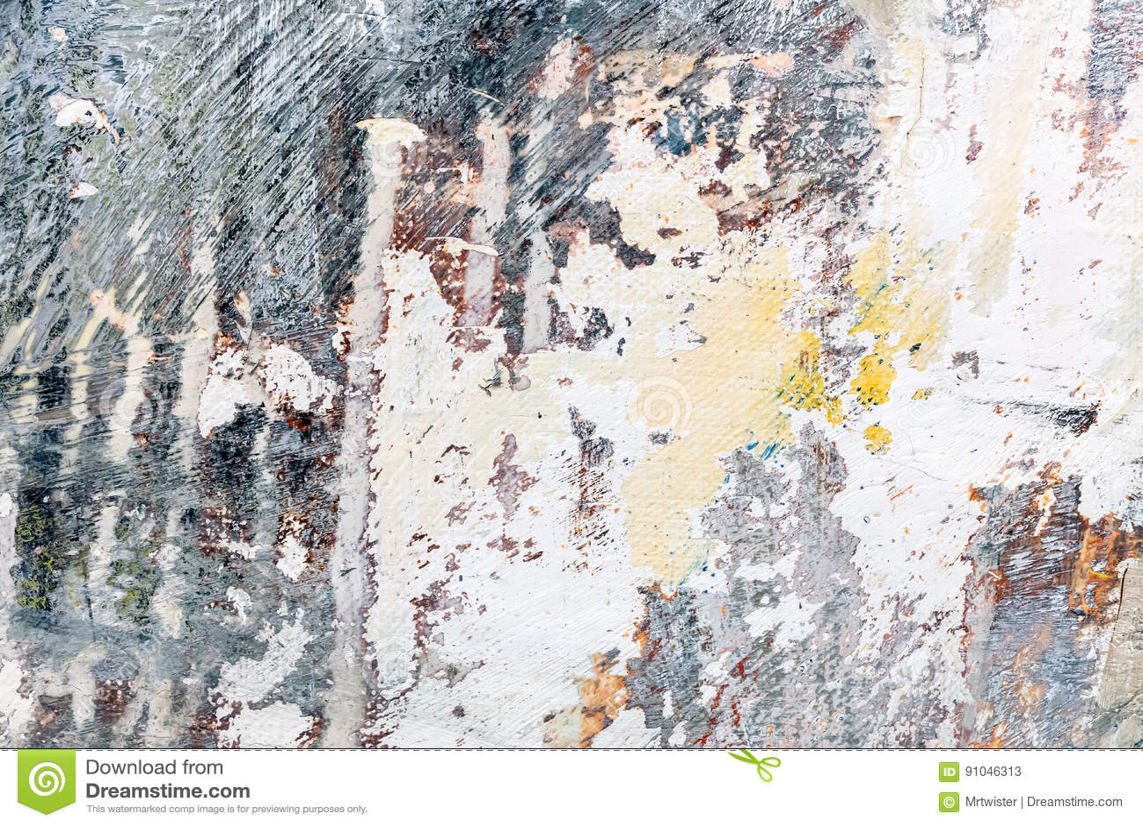 与传神刷子冲程的抽象手画难看的东西帆布