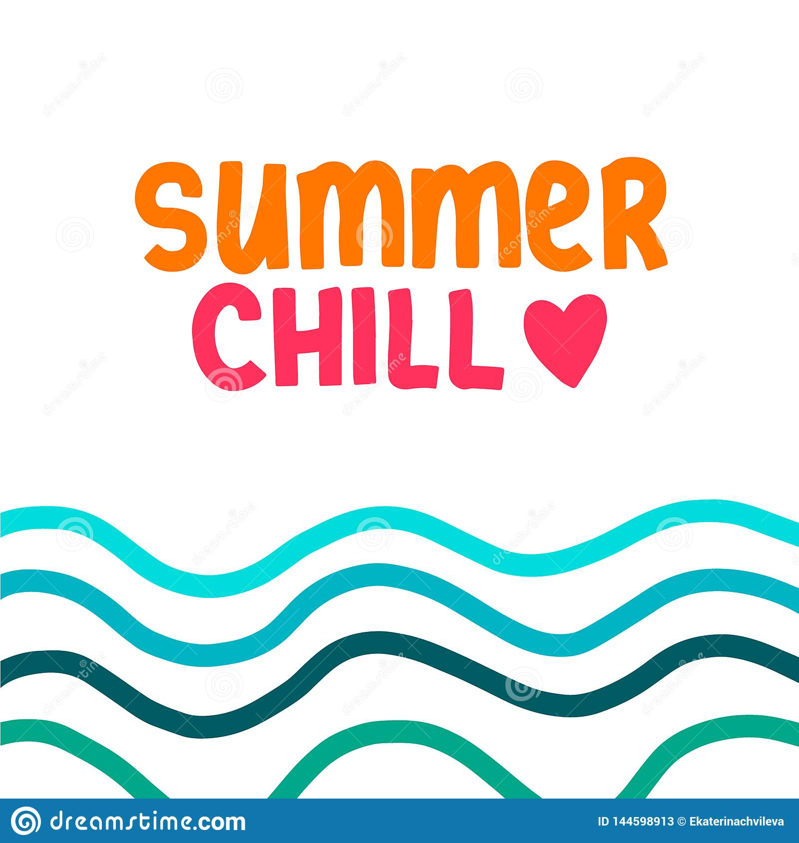 与例证波浪的夏天冷颤手拉的字法
