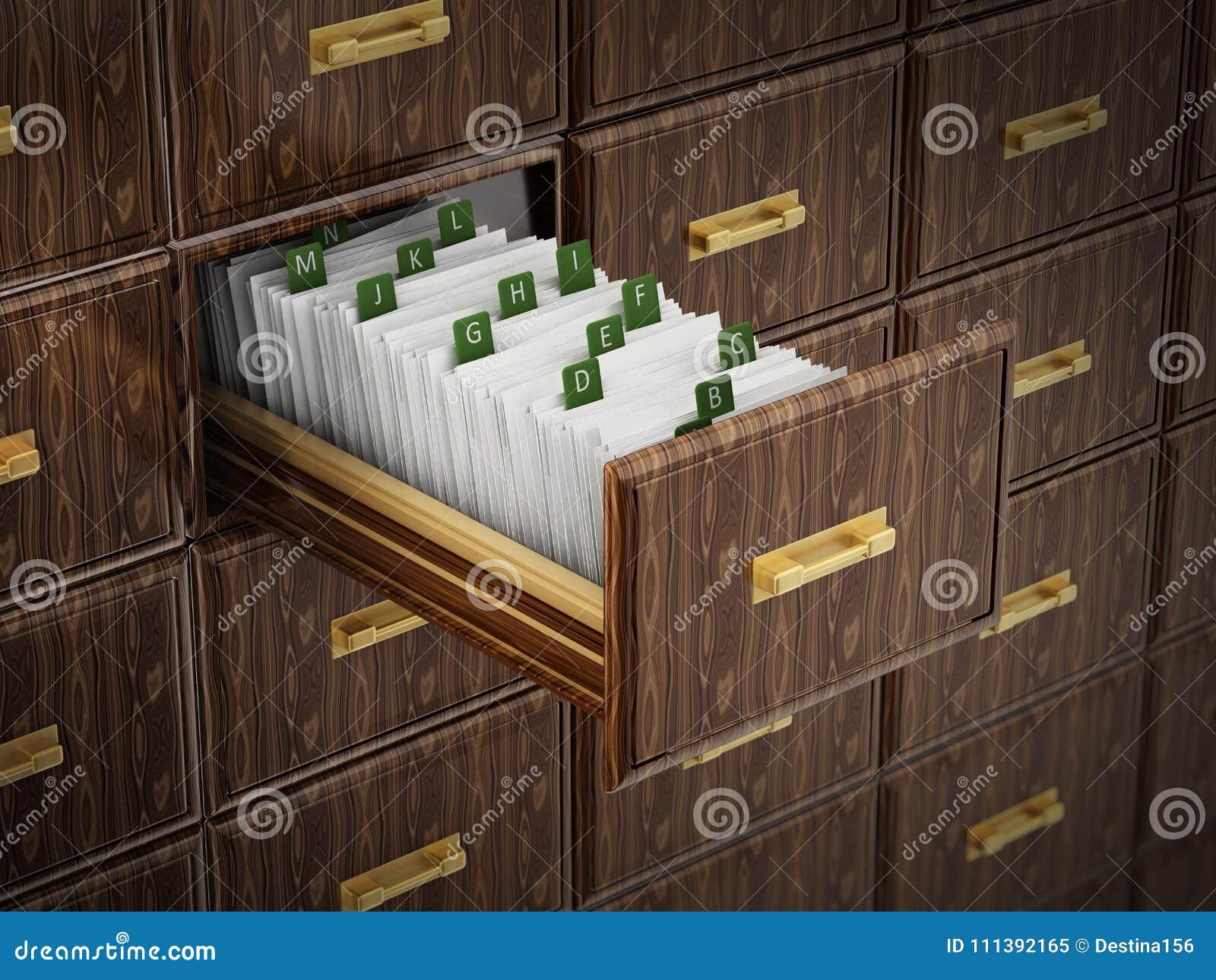 与信件的图书馆目录木抽屉 3d例证