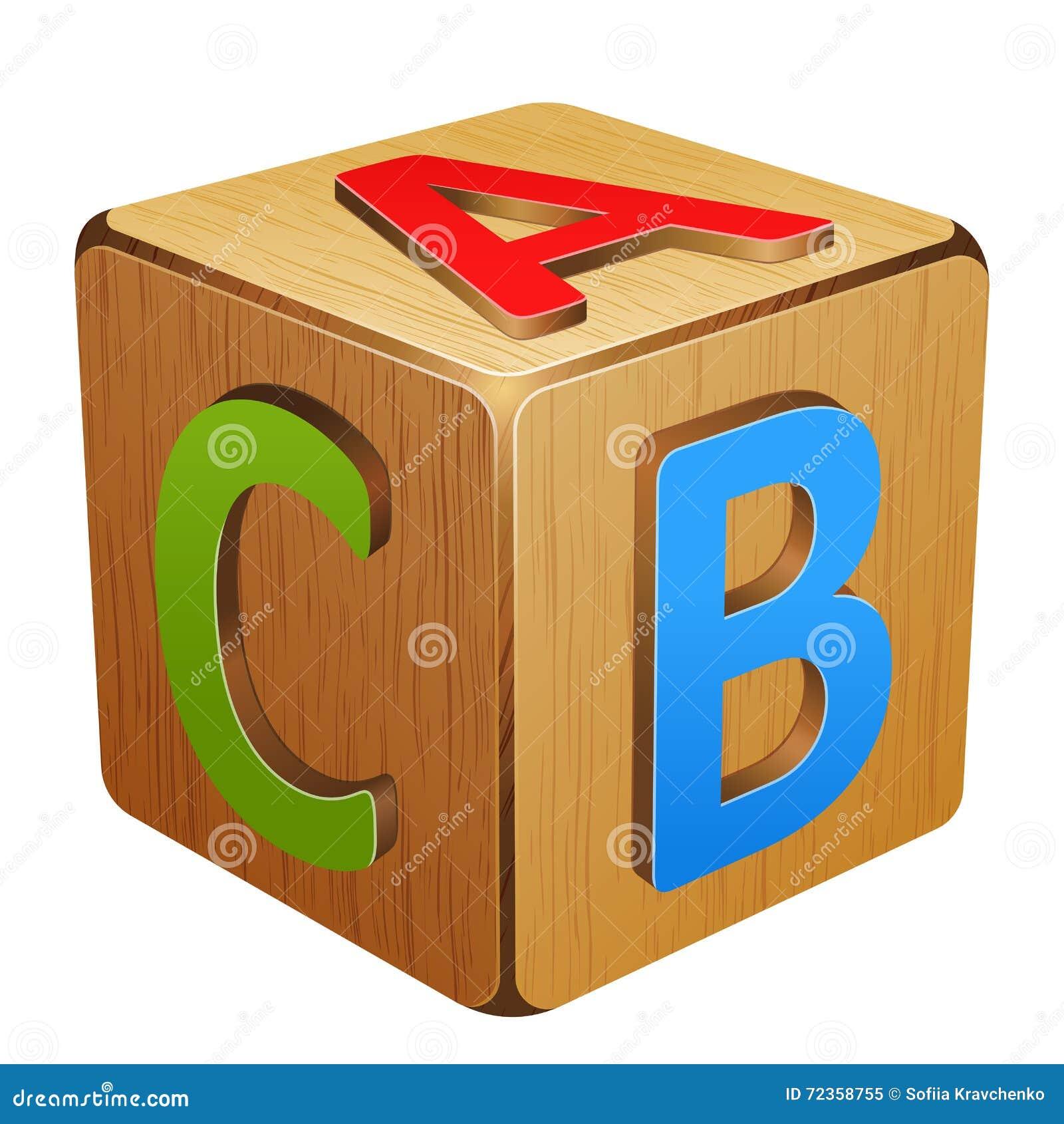与信件A, B, C的木立方体