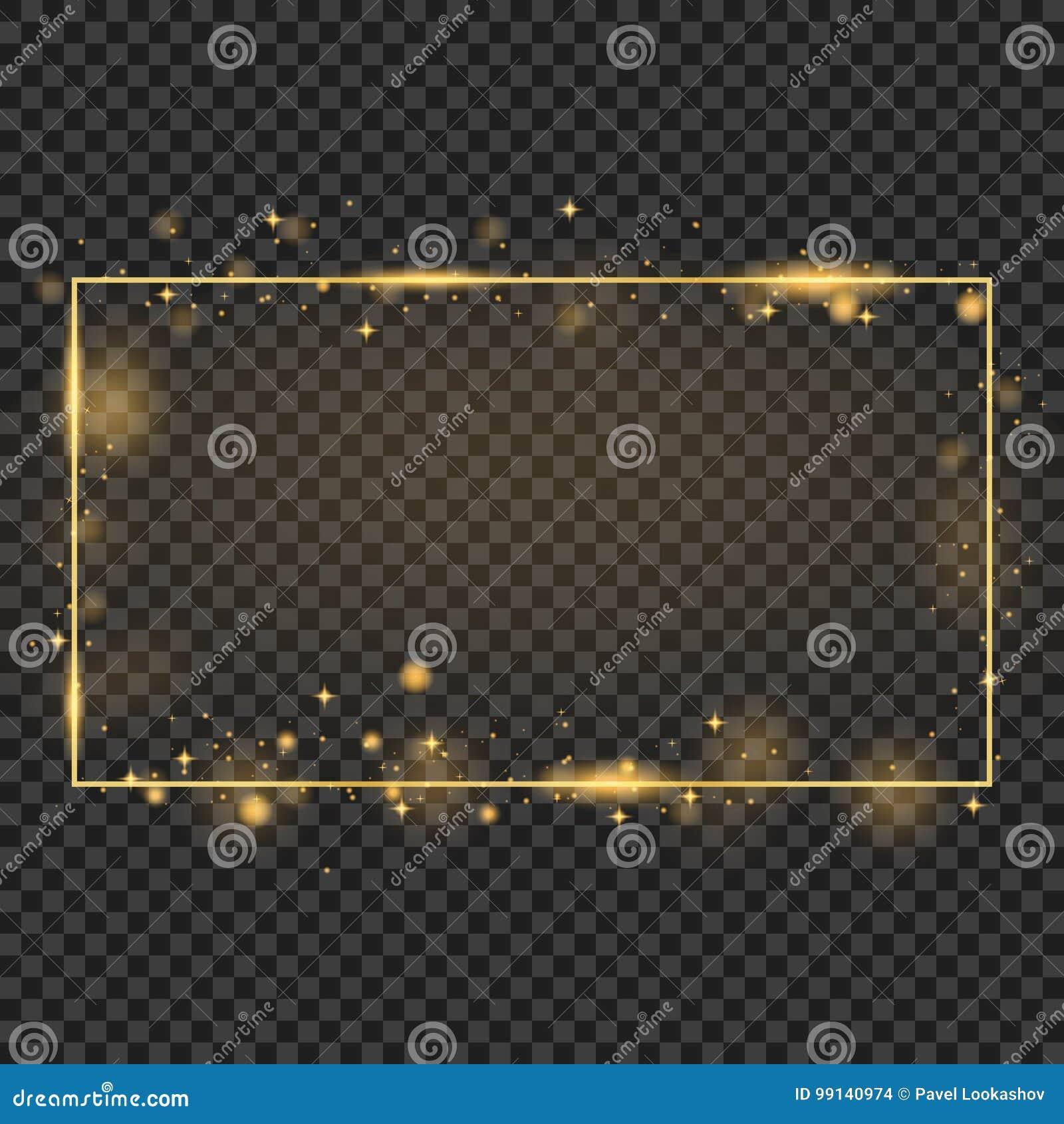 与光线影响的传染媒介金黄框架 光亮的长方形横幅 隔绝在黑透明背景 传染媒介例证,