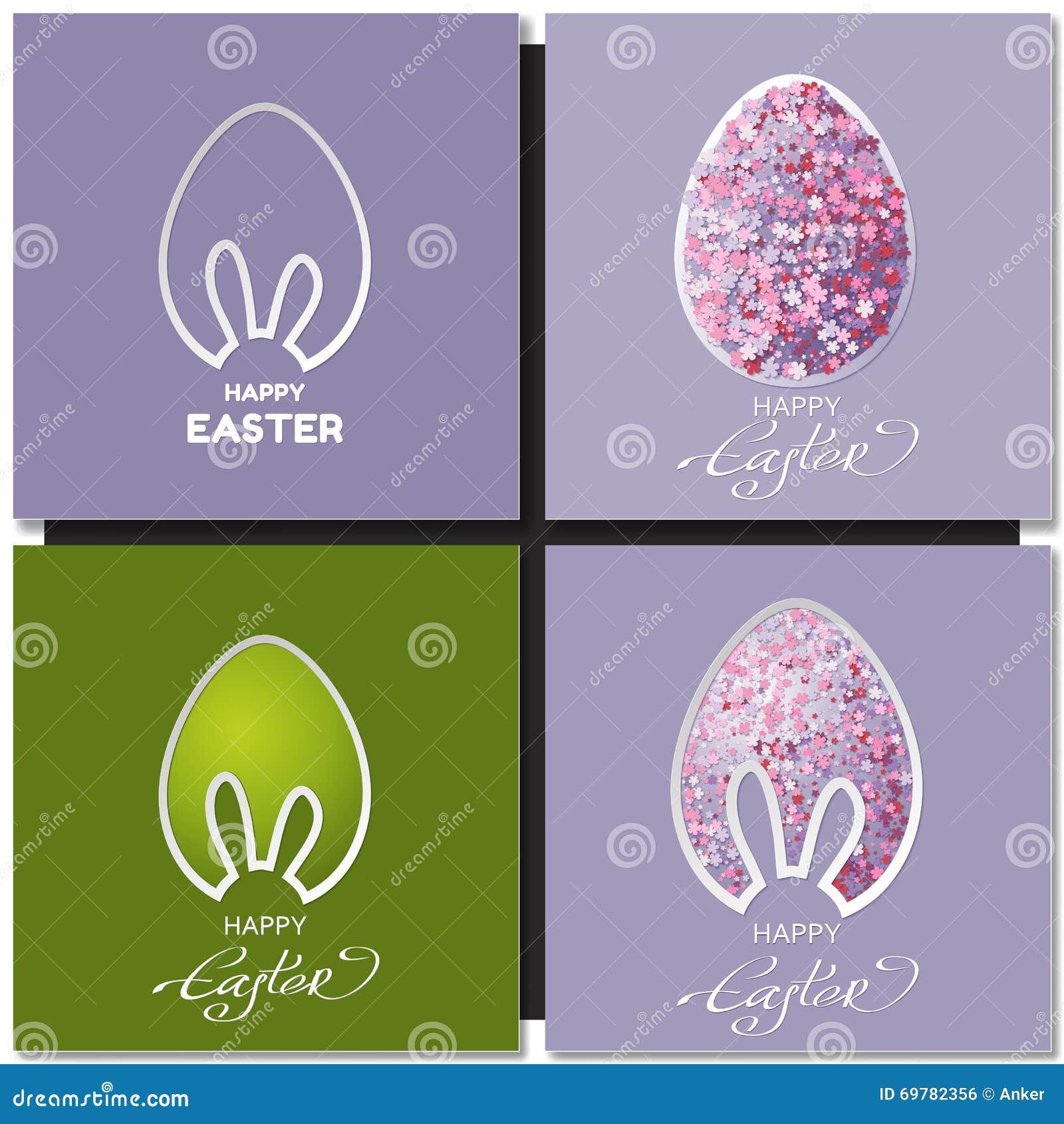 与兔宝宝耳朵的愉快的复活节卡集