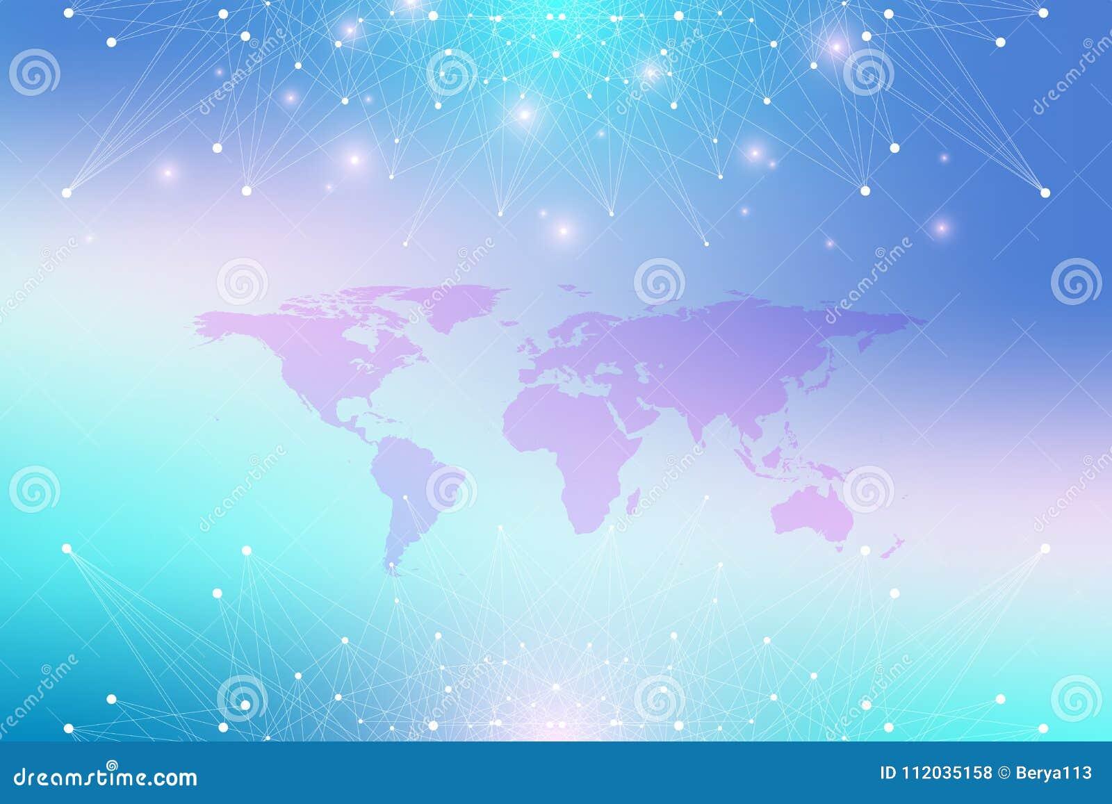 与全球性技术网络概念的政治世界地图 数字资料形象化 排行结节 大数据