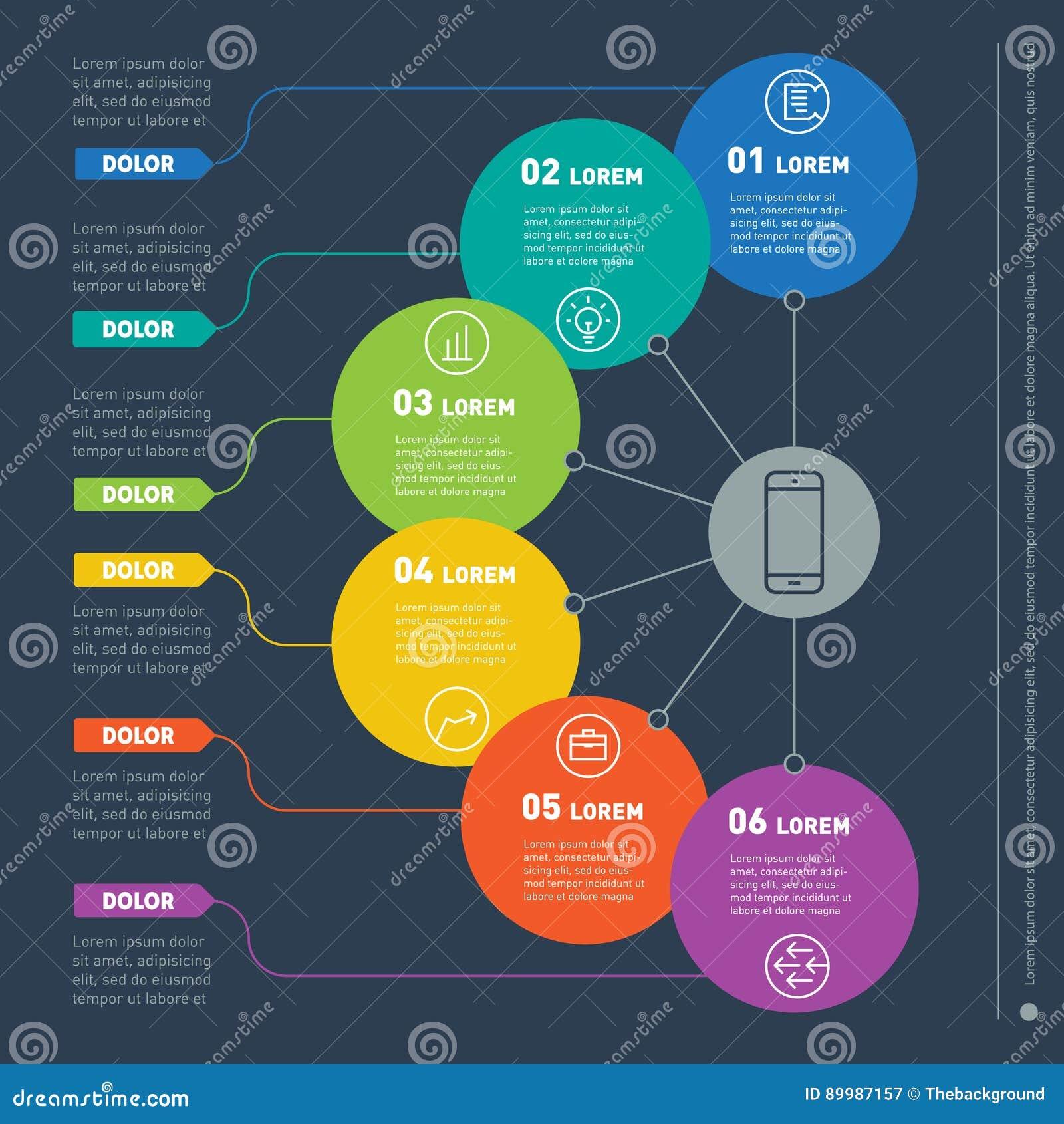 与六个选择的企业概念 信息图的网模板,