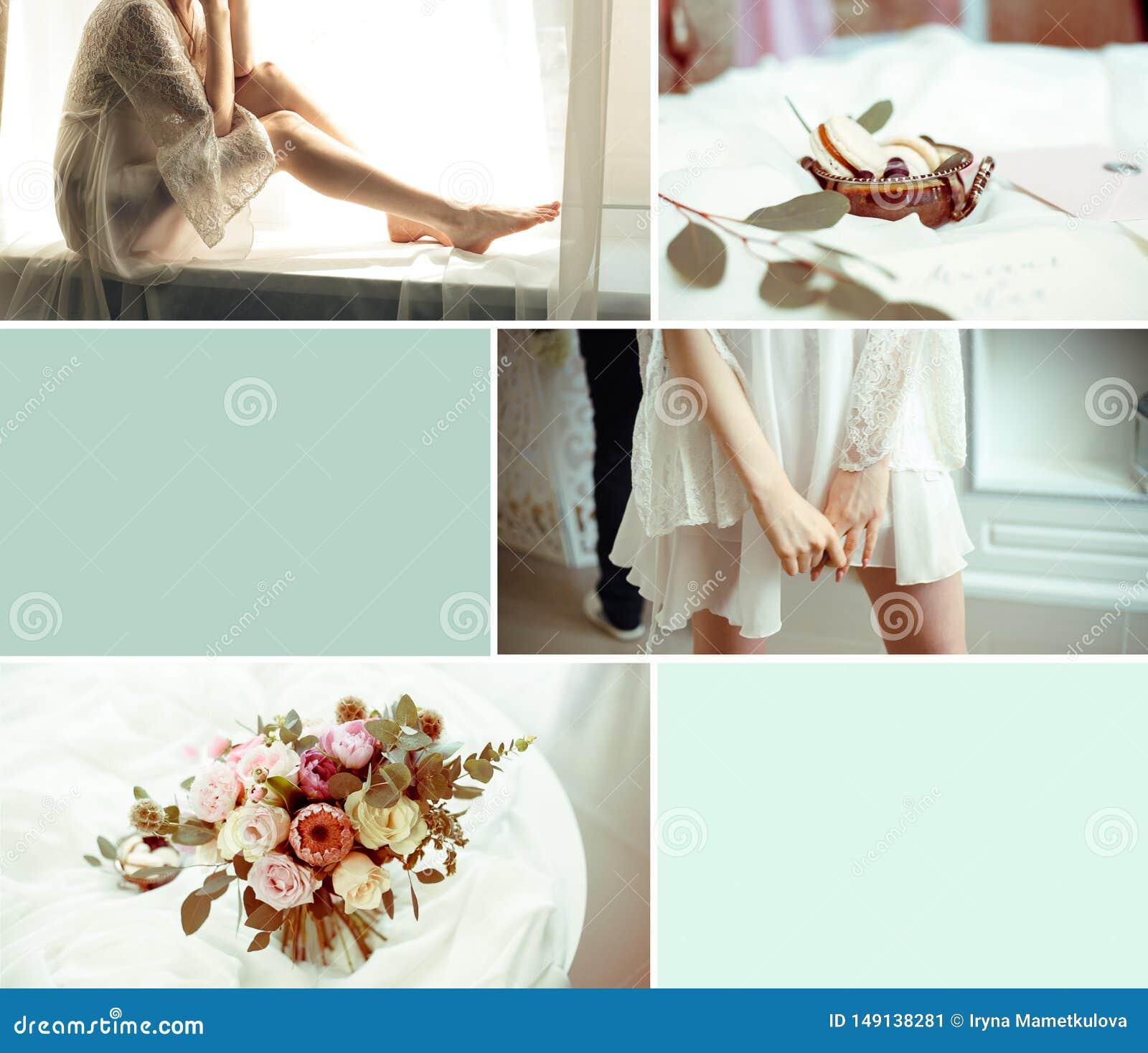 与六张图片的婚姻的浅兰的拼贴画