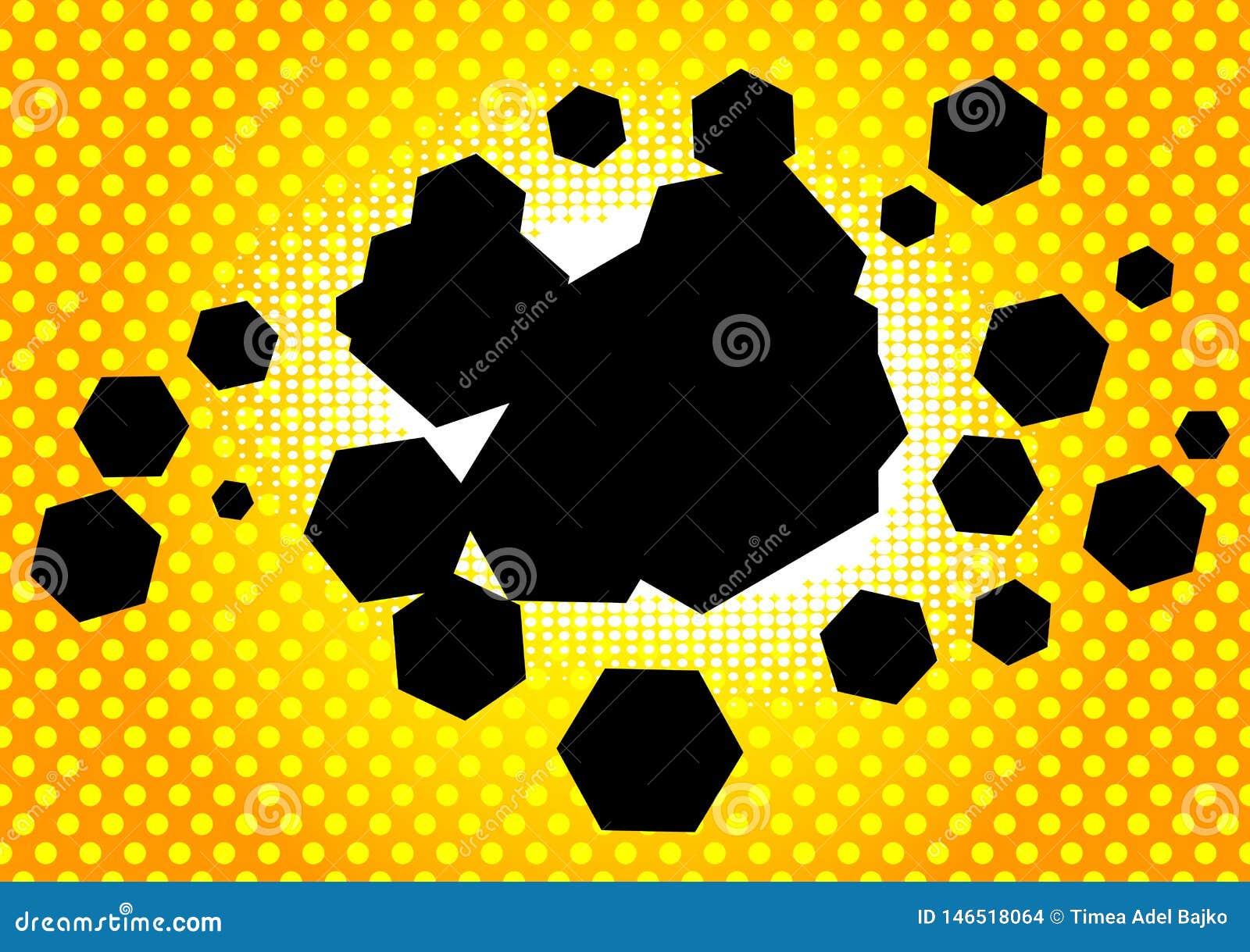 与六角形形状的泡影的漫画背景