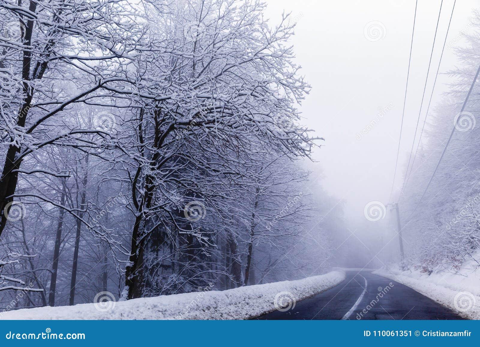 与冬天山路的风景
