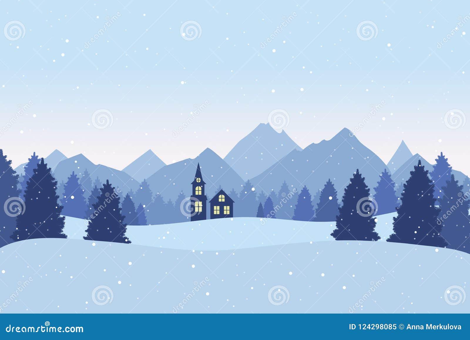 与冬天风景的圣诞节明信片 杉树,山