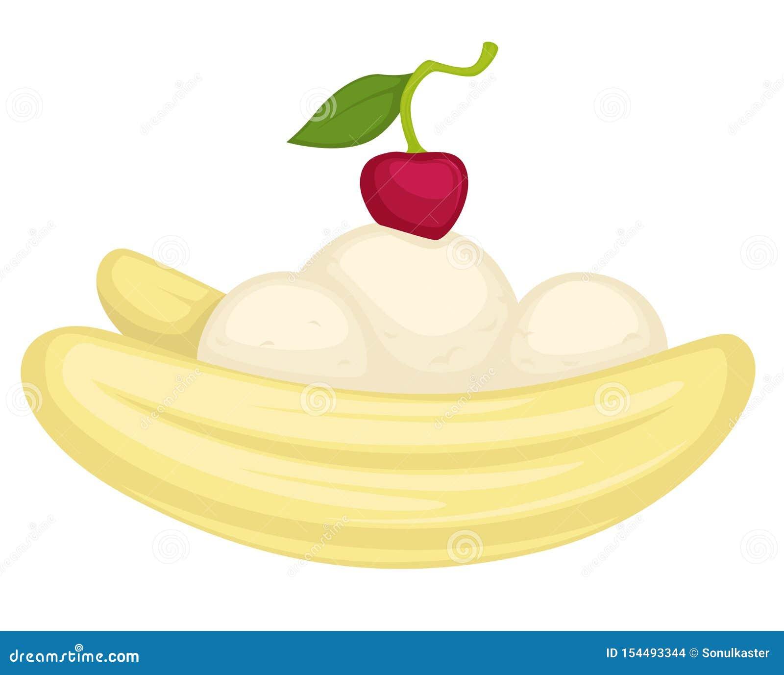 与冰淇淋的香蕉点心或奶油甜点和樱桃