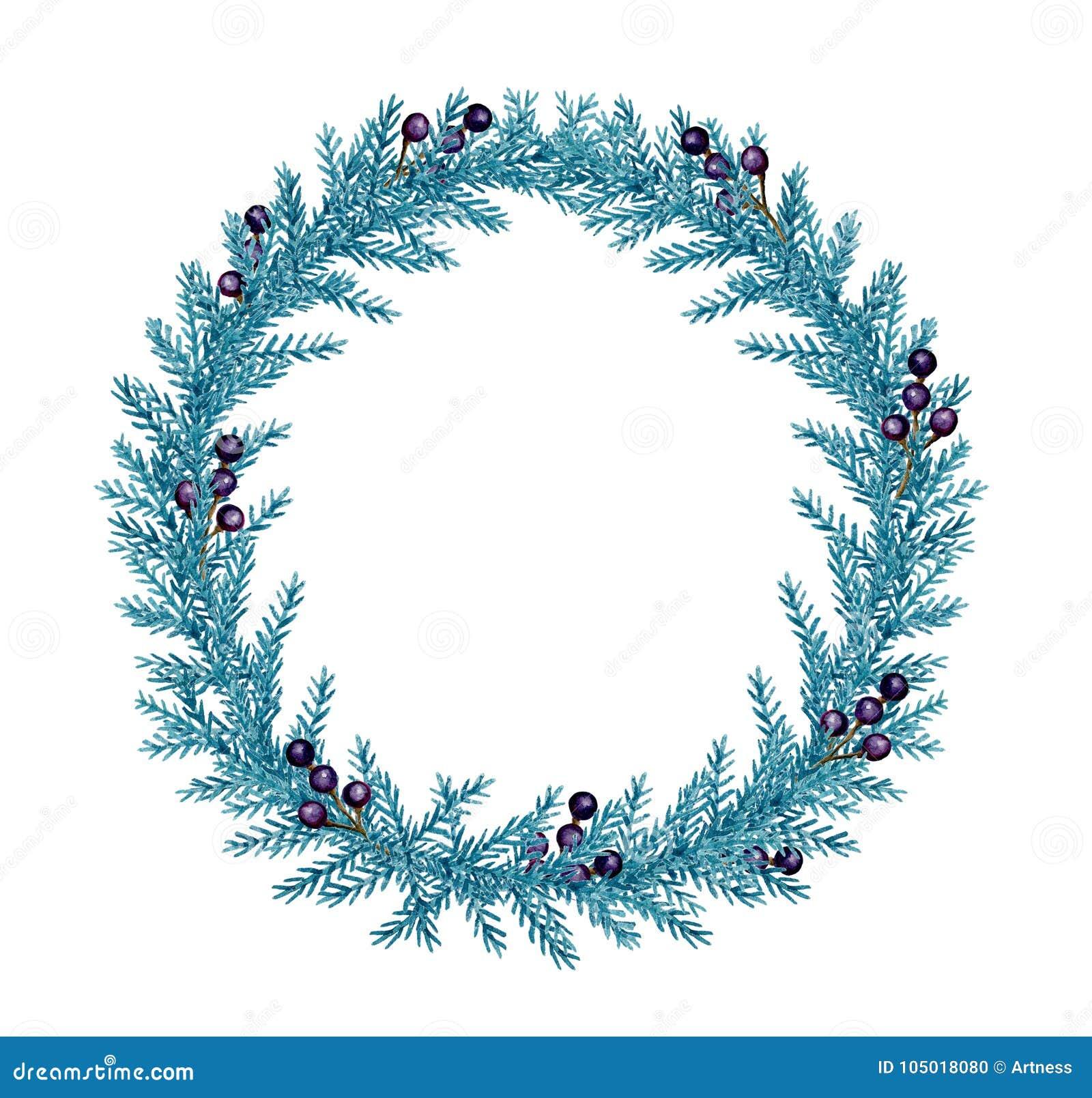 与冷杉和莓果的装饰水彩圣诞节花圈