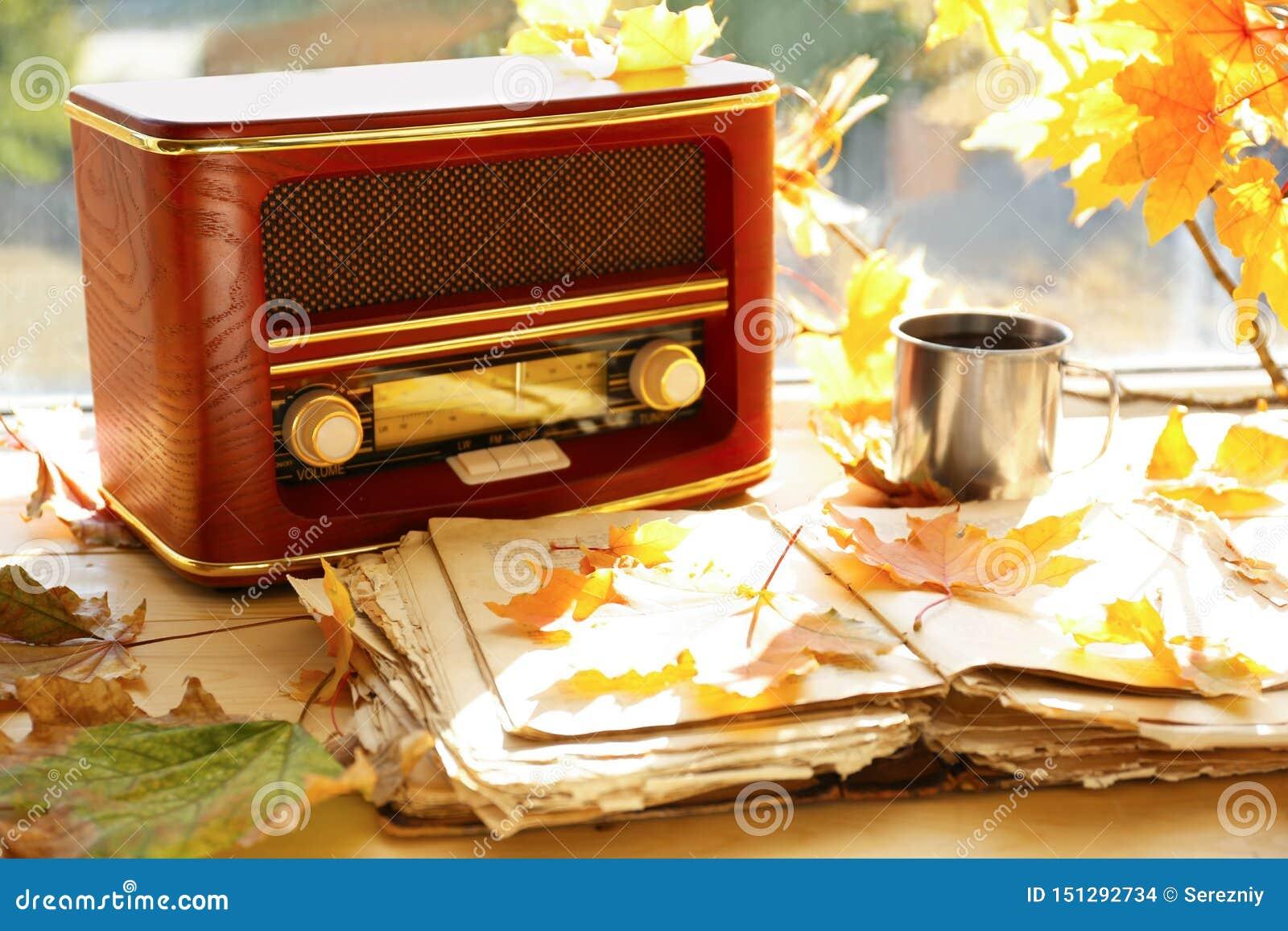 与减速火箭的收音机的老开放书和在窗台的秋叶