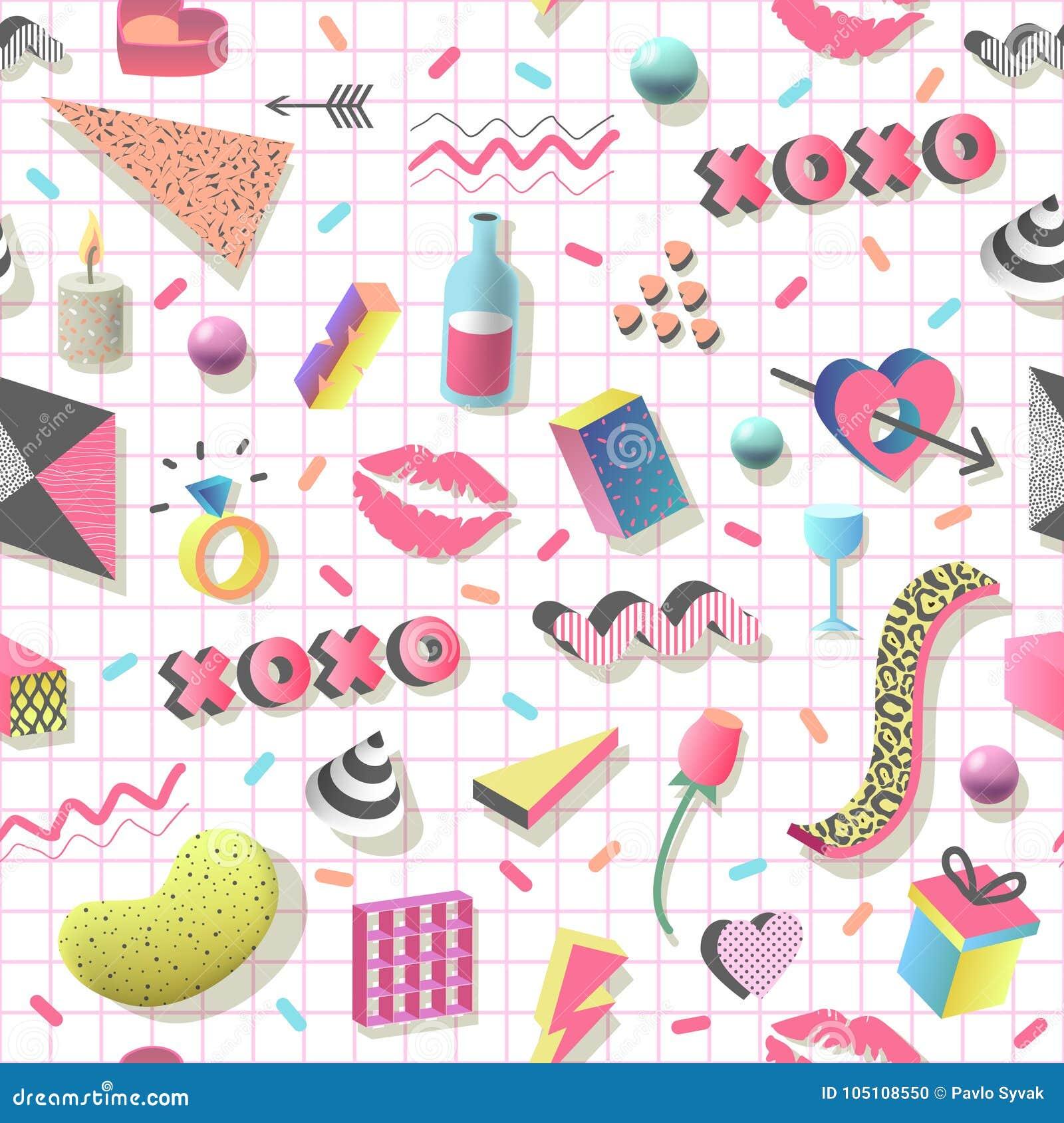 与几何形状、心脏和嘴唇的浪漫抽象无缝的样式 织品的时髦80s 90s情人节背景